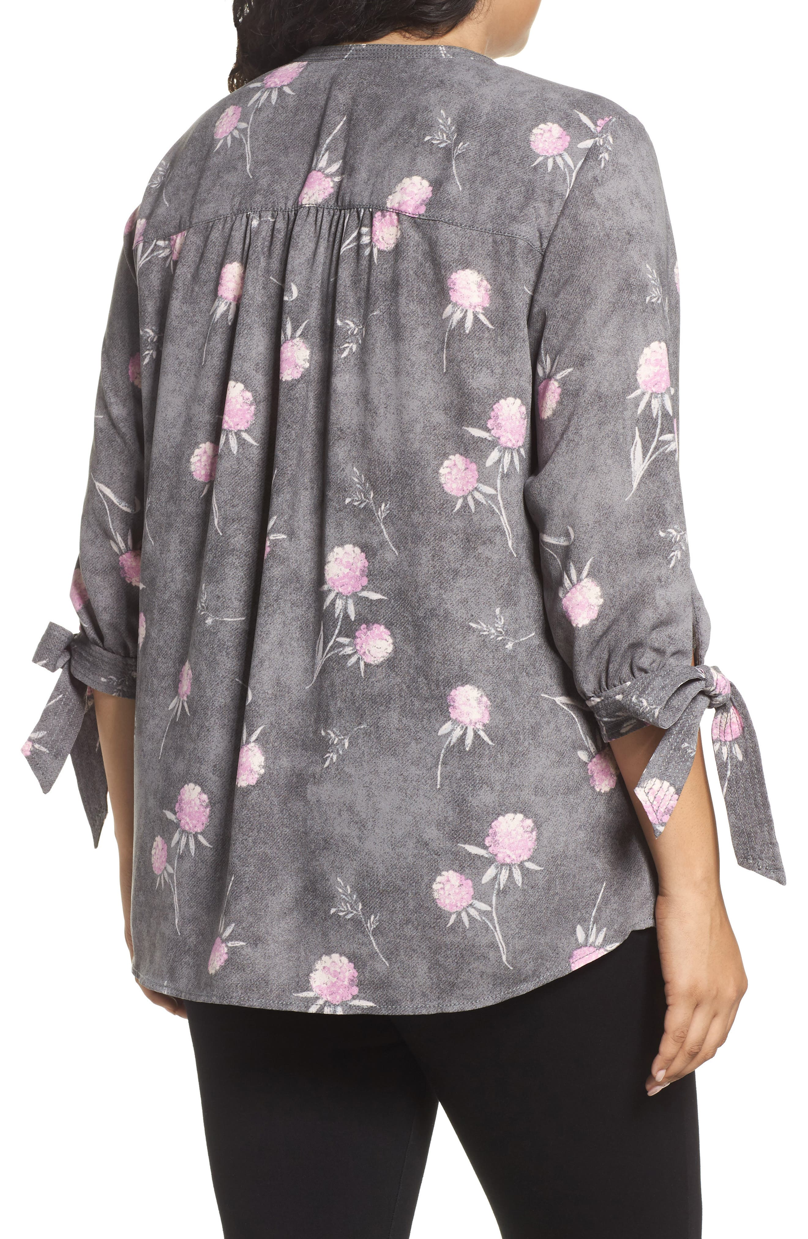 Tie Sleeve Blouse,                             Alternate thumbnail 3, color,                             Grey Enchanted Floral