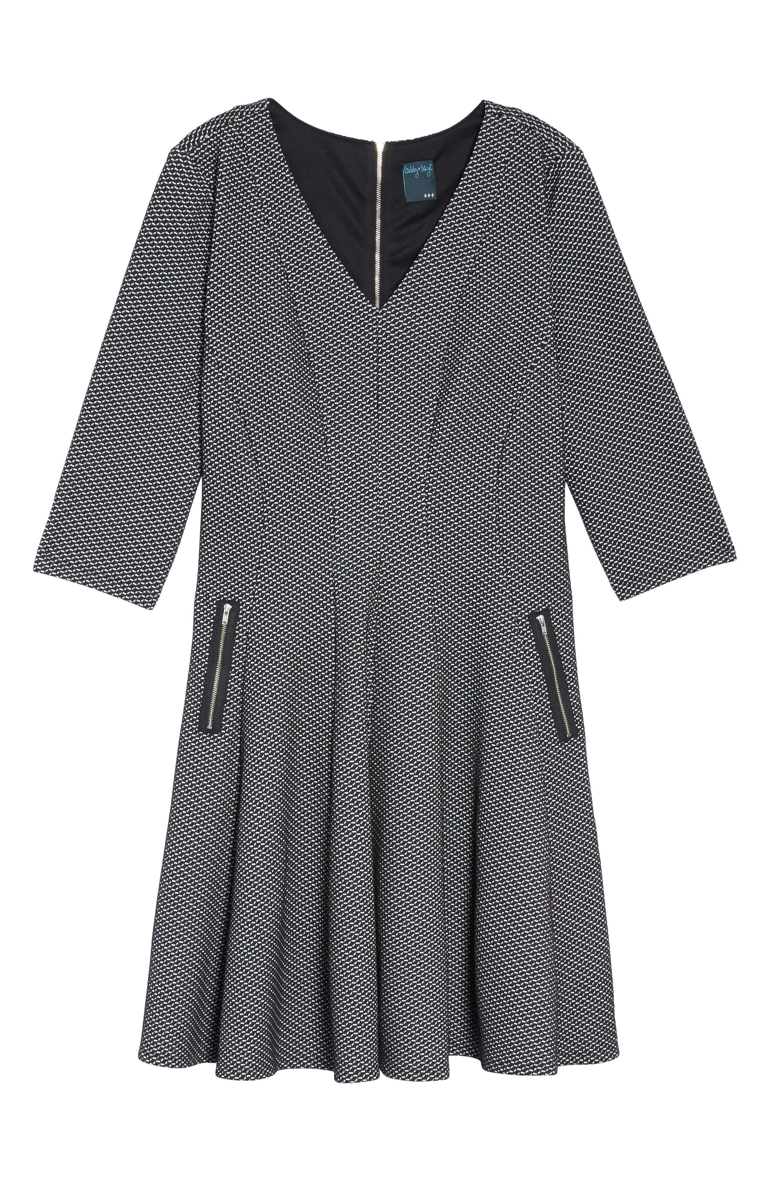 Alternate Image 6  - Gabby Skye Jacquard Fit & Flare Dress (Plus Size)