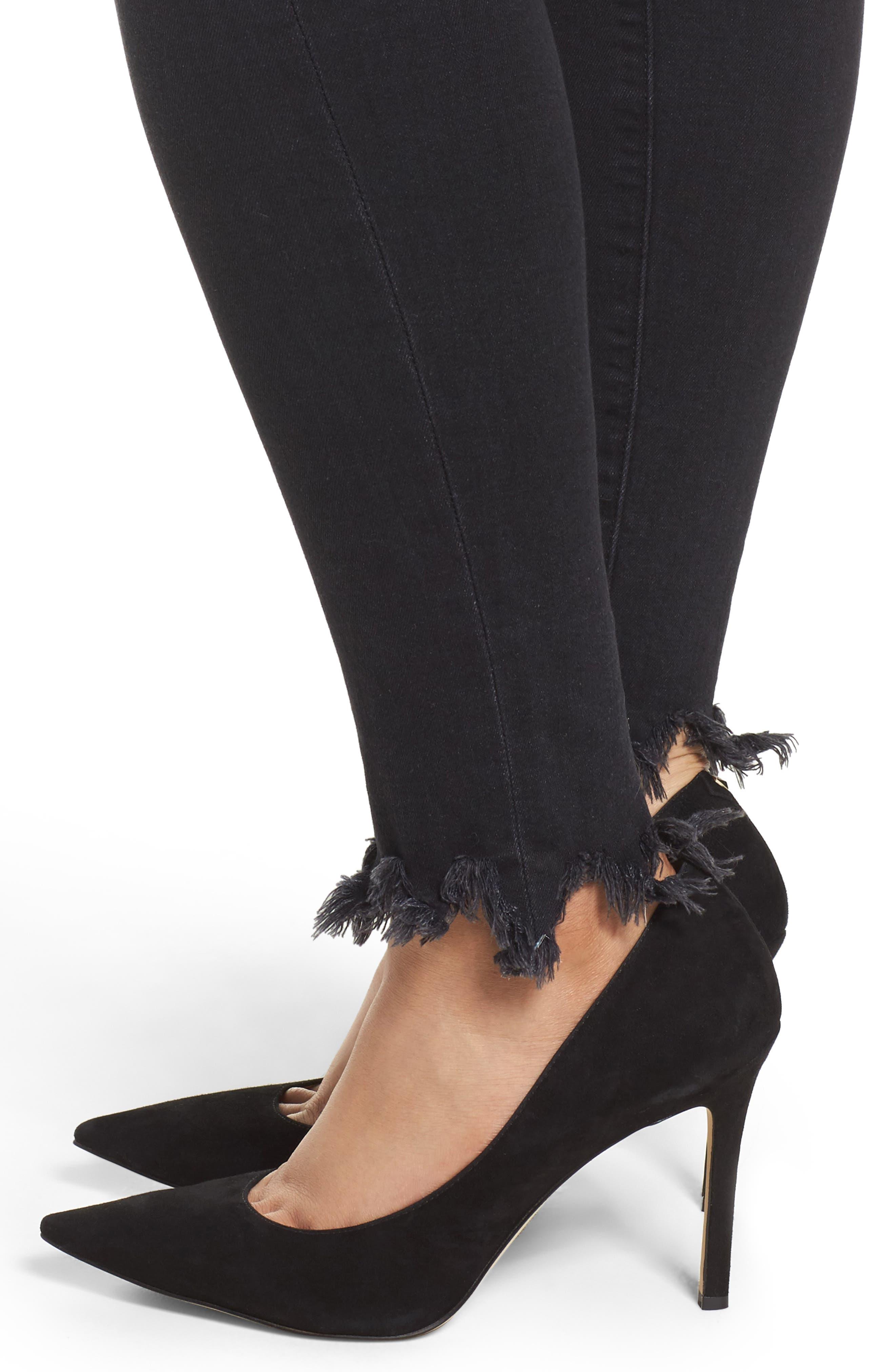 Alternate Image 7  - Good American Good Waist Fray Hem Skinny Jeans (Black 012) (Extended Sizes)