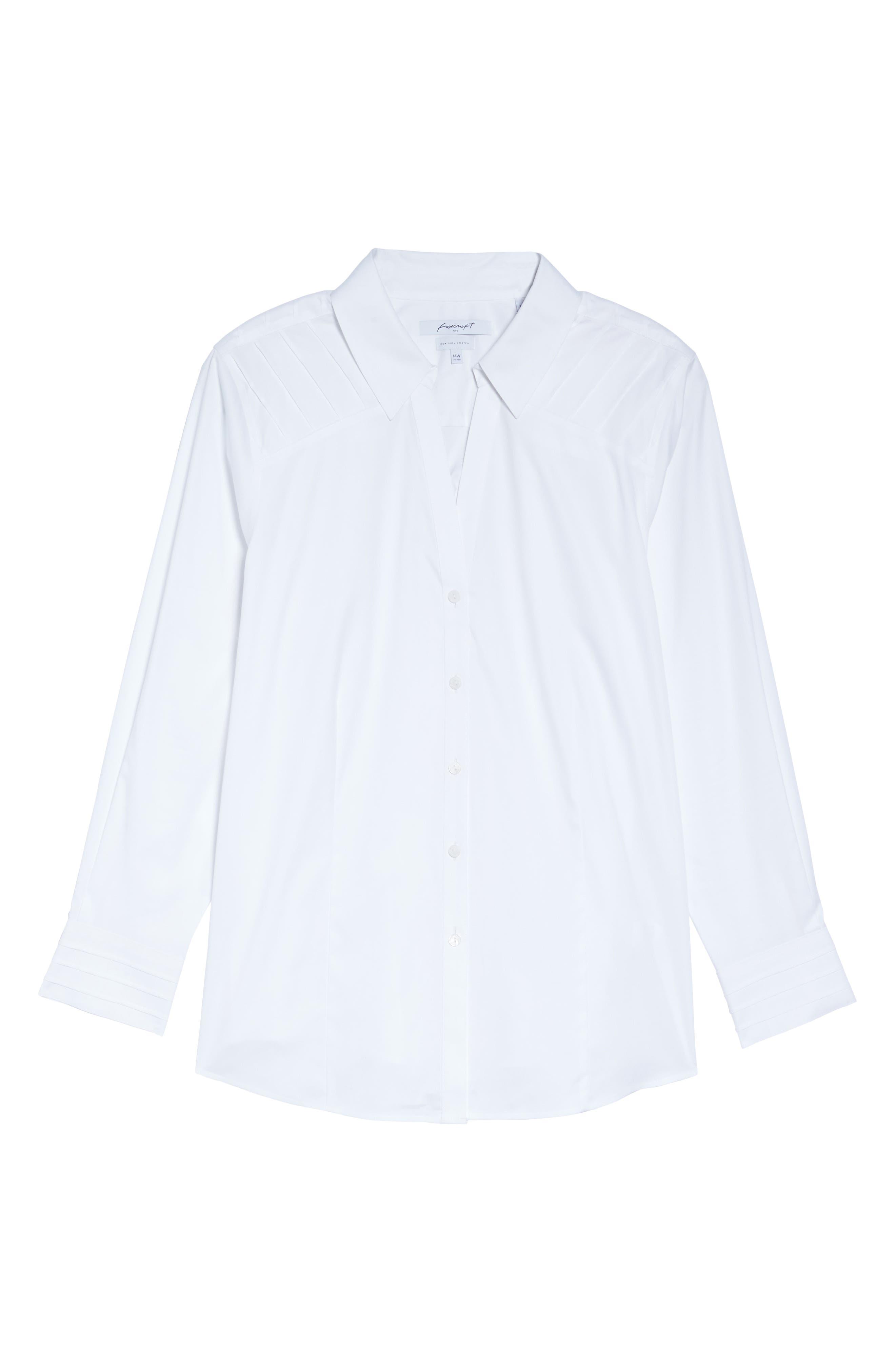 Alternate Image 6  - Foxcroft Rita Solid Stretch Cotton Top (Plus Size)