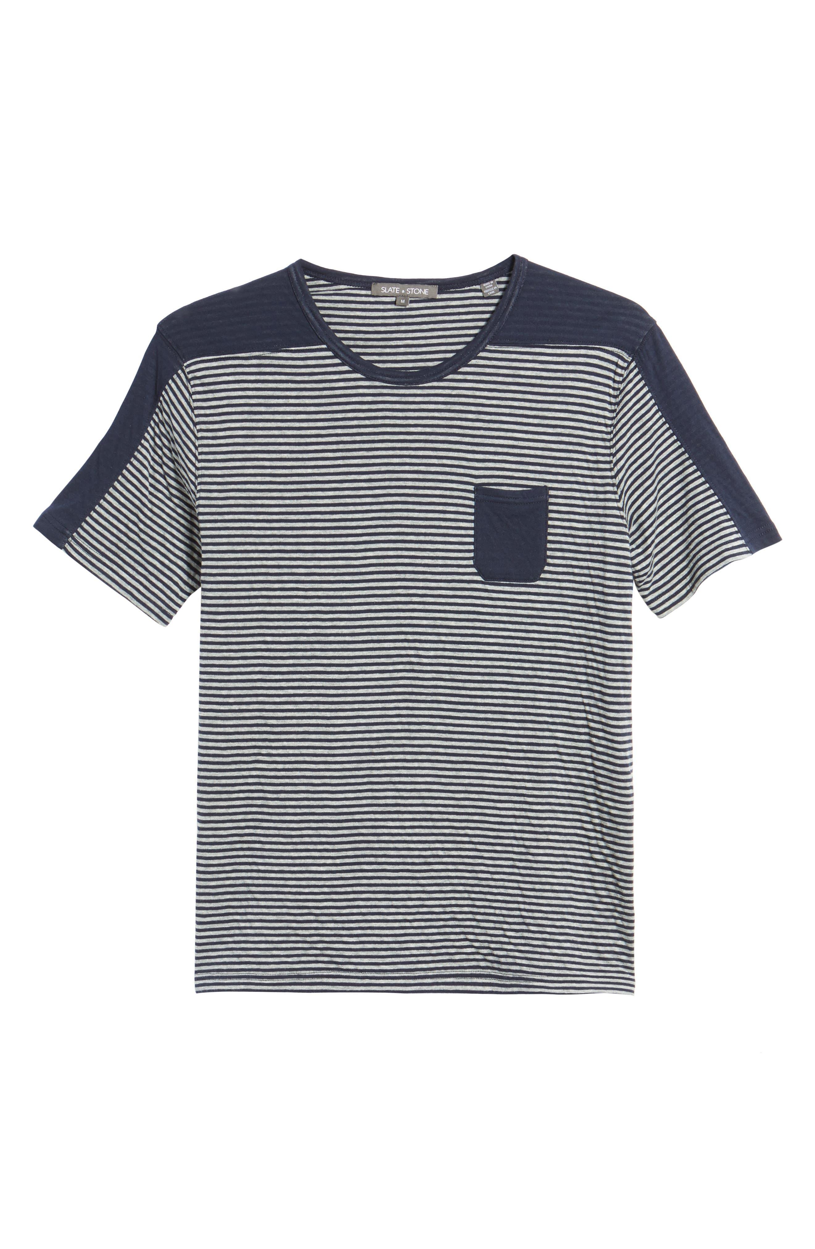 Striped Pocket T-Shirt,                             Alternate thumbnail 6, color,                             Navy/ White Stripe