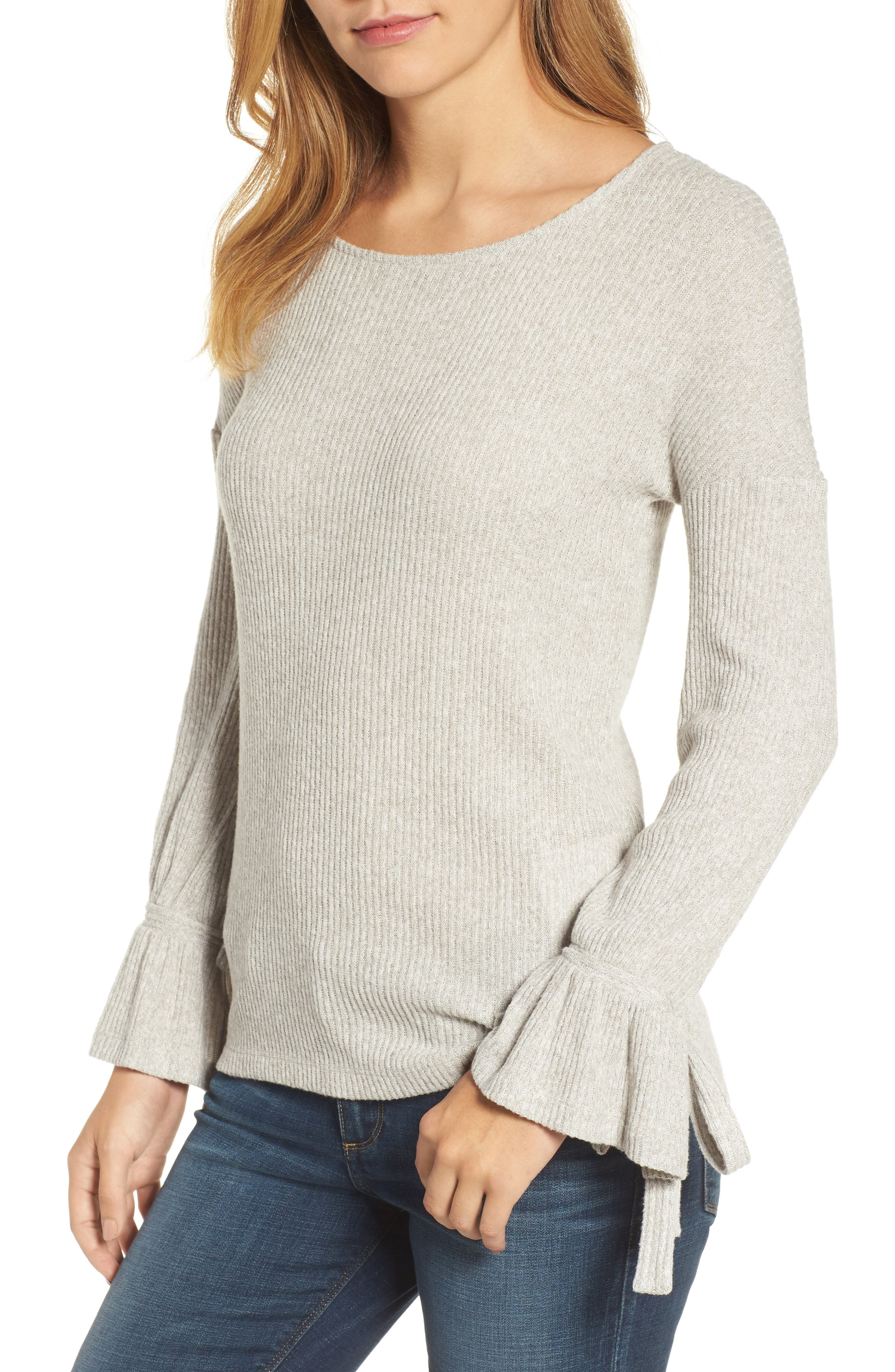 Alternate Image 1 Selected - Lucky Brand Tie Sleeve Rib Pullover