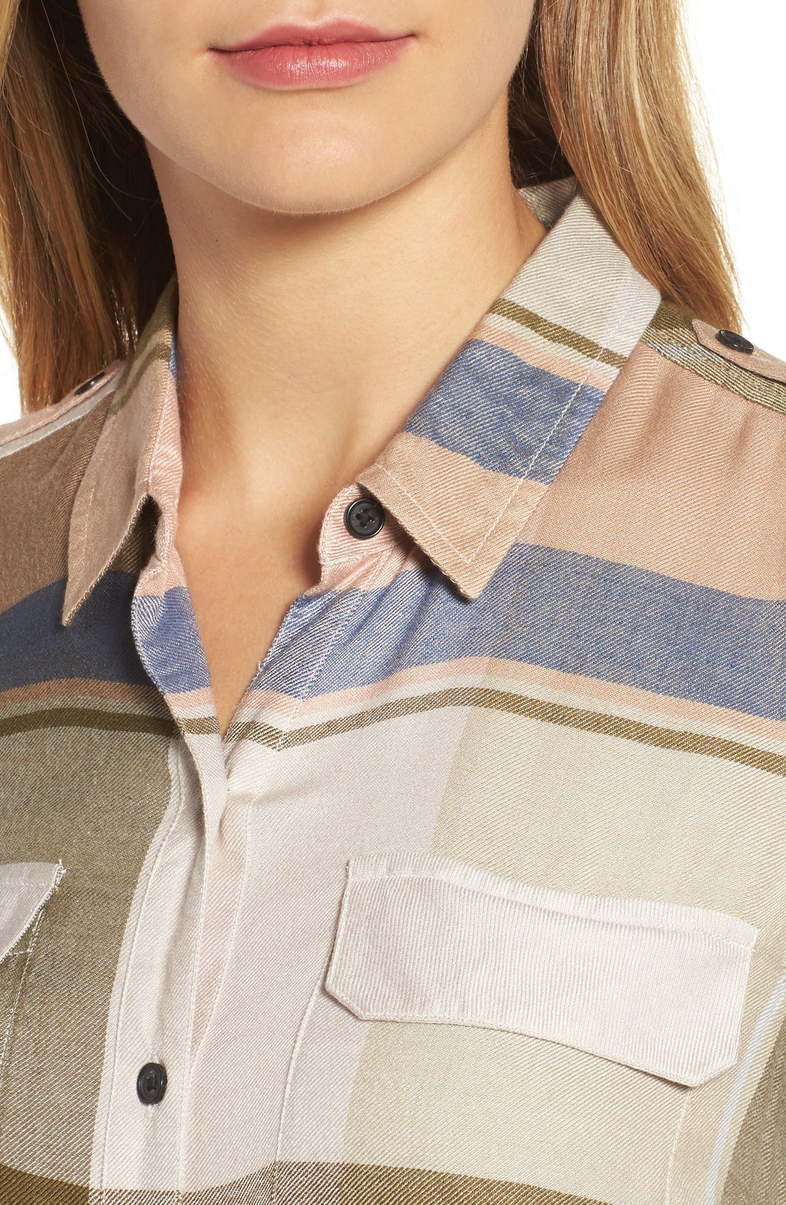Alternate Image 4  - Lucky Brand Plaid Roll Sleeve Shirt