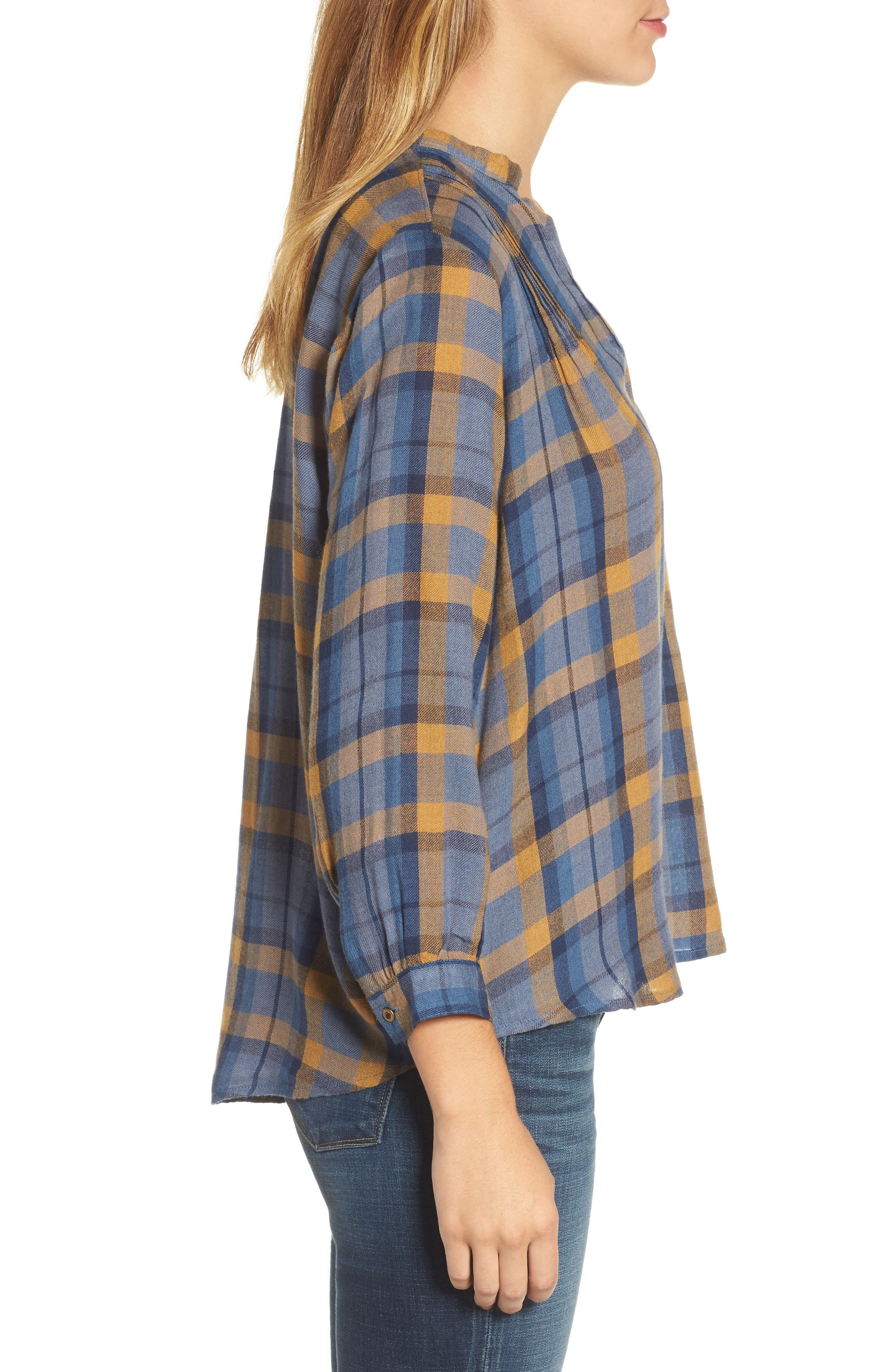 Plaid Top,                             Alternate thumbnail 3, color,                             Blue Multi