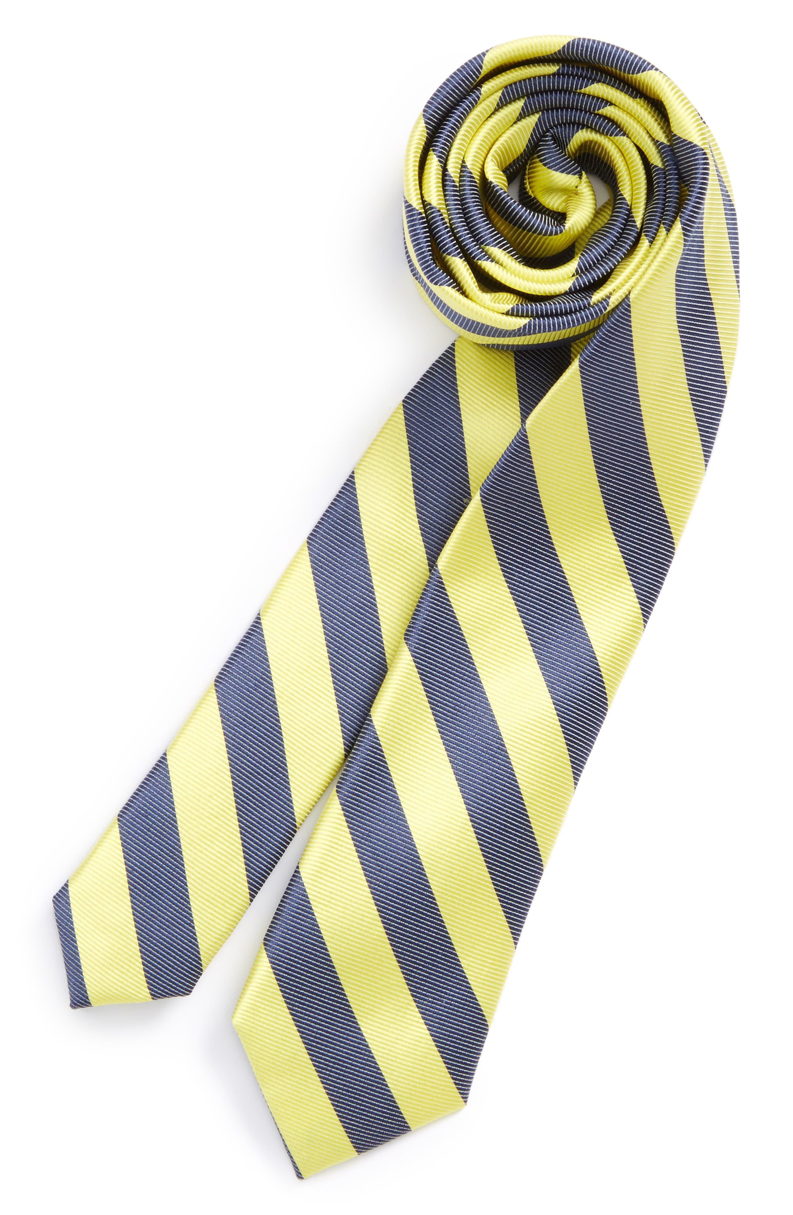 Stripe Silk & Cotton Tie,                         Main,                         color, Yellow