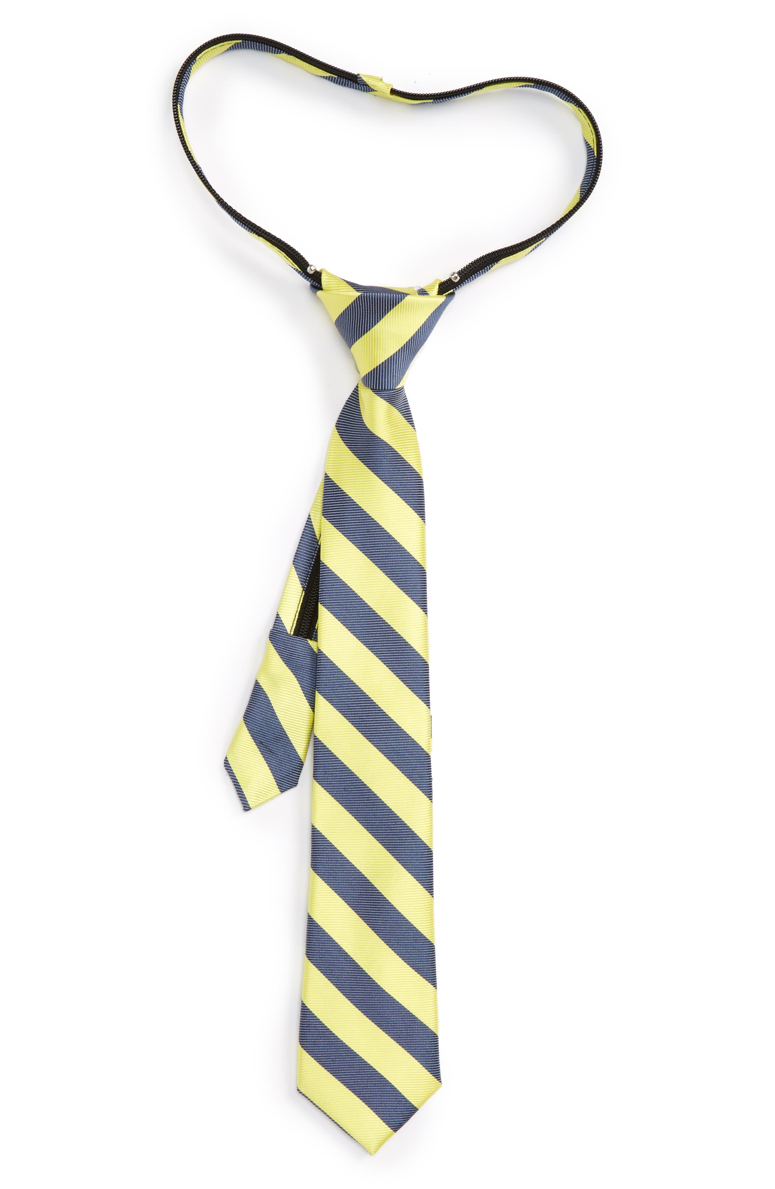 Nordstrom Stripe Silk & Cotton Zip Tie (Little Boys)