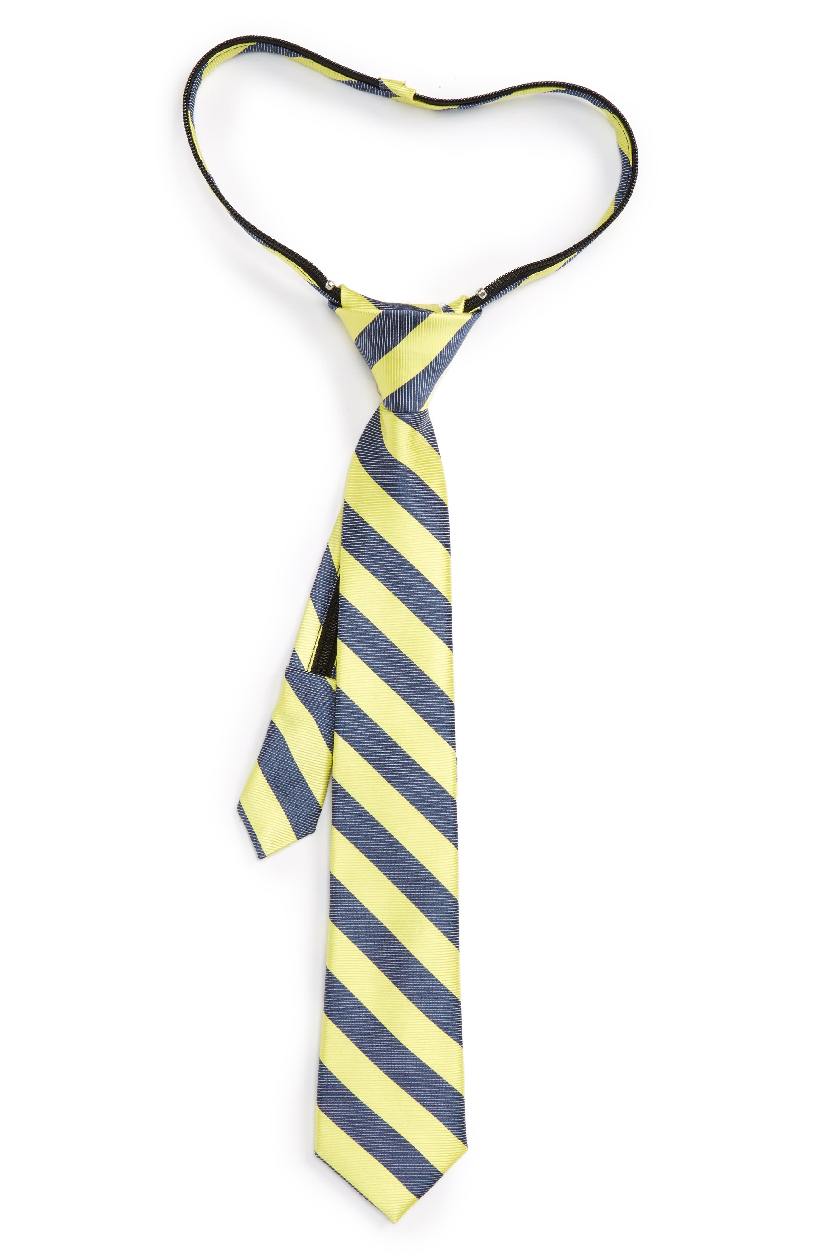 Nordstrom Stripe Silk & Cotton Zip Tie (Little Boys)