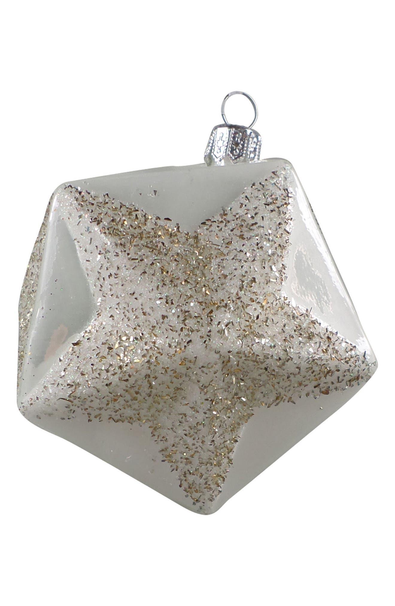 Handblown Glass Celestial Star Ornament,                             Main thumbnail 1, color,                             White/ Gold
