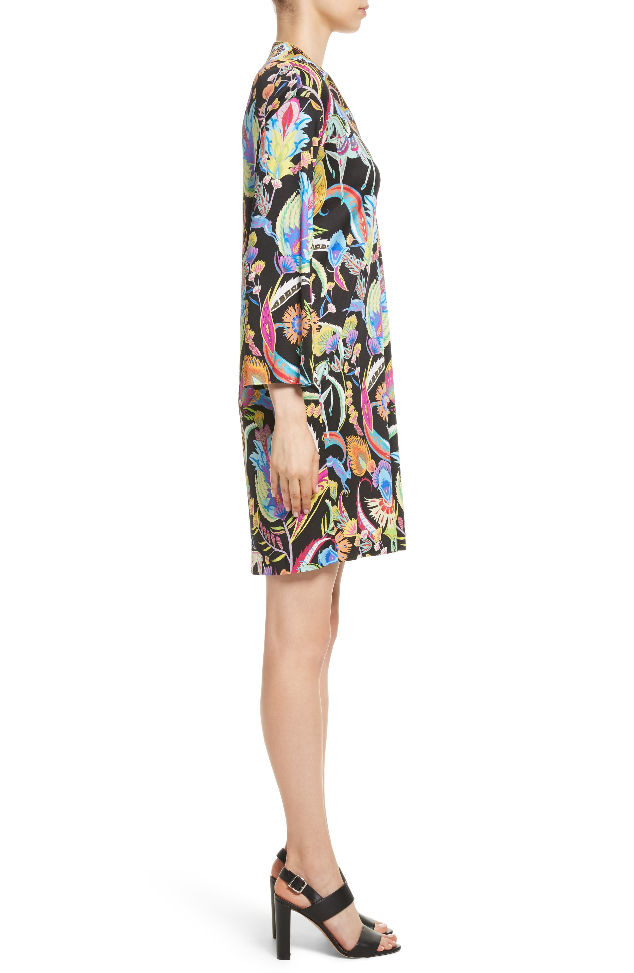 Floral Print Silk Shift Dress,                             Alternate thumbnail 3, color,                             Black