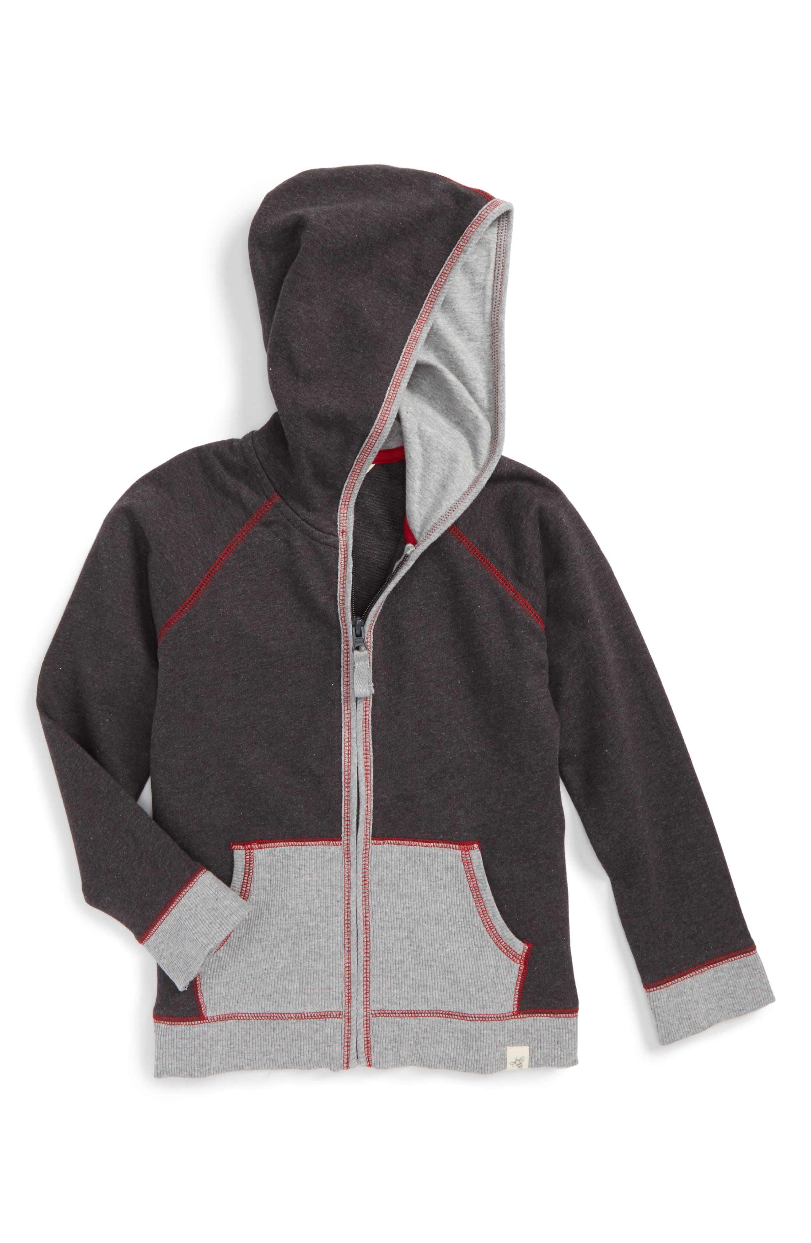 French Terry Organic Cotton Hoodie,                             Main thumbnail 1, color,                             Coal Heather