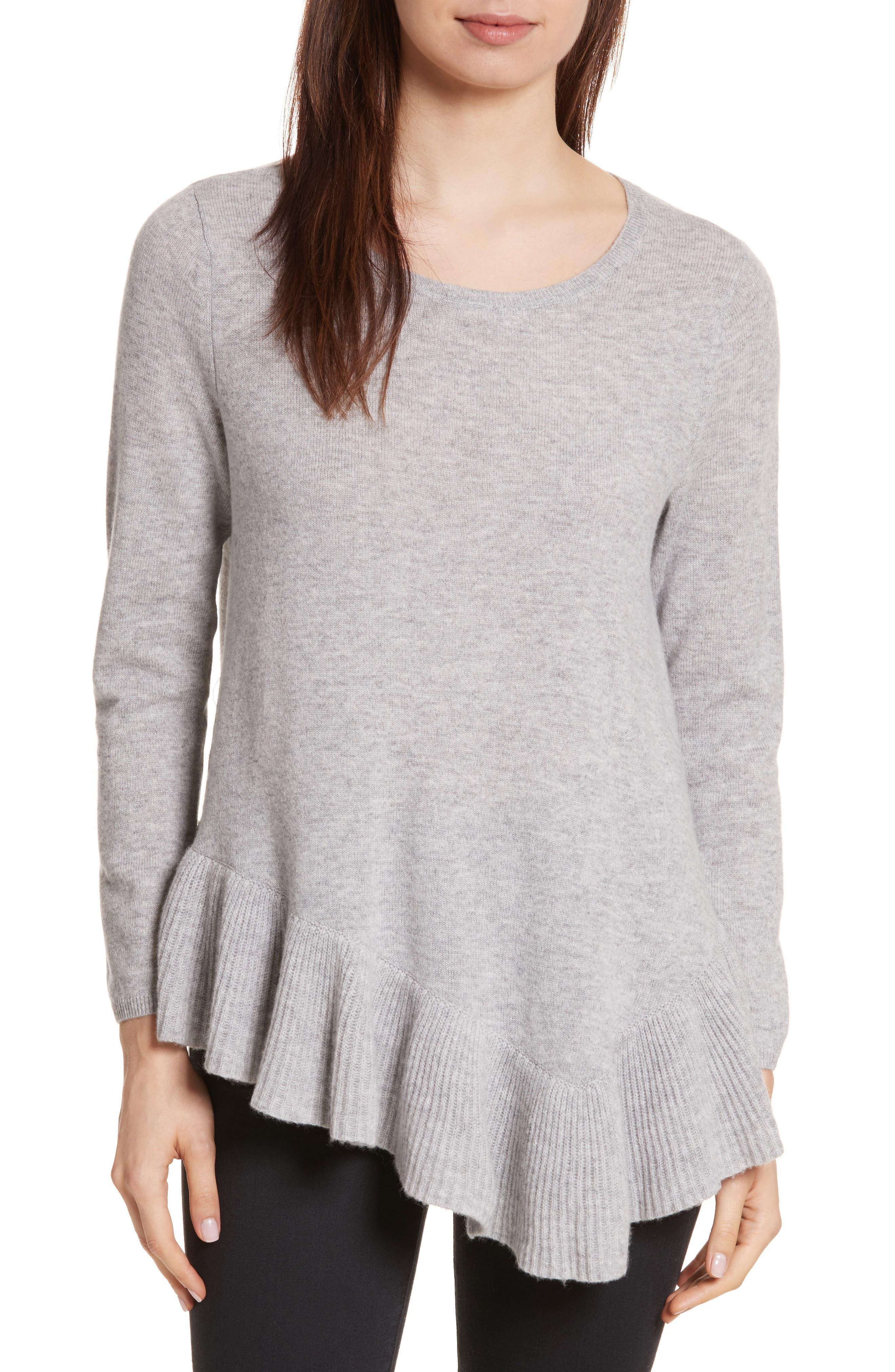Tambrel N Wool & Cashmere Asymmetrical Sweater Tunic,                             Main thumbnail 1, color,                             Ash Heather Grey