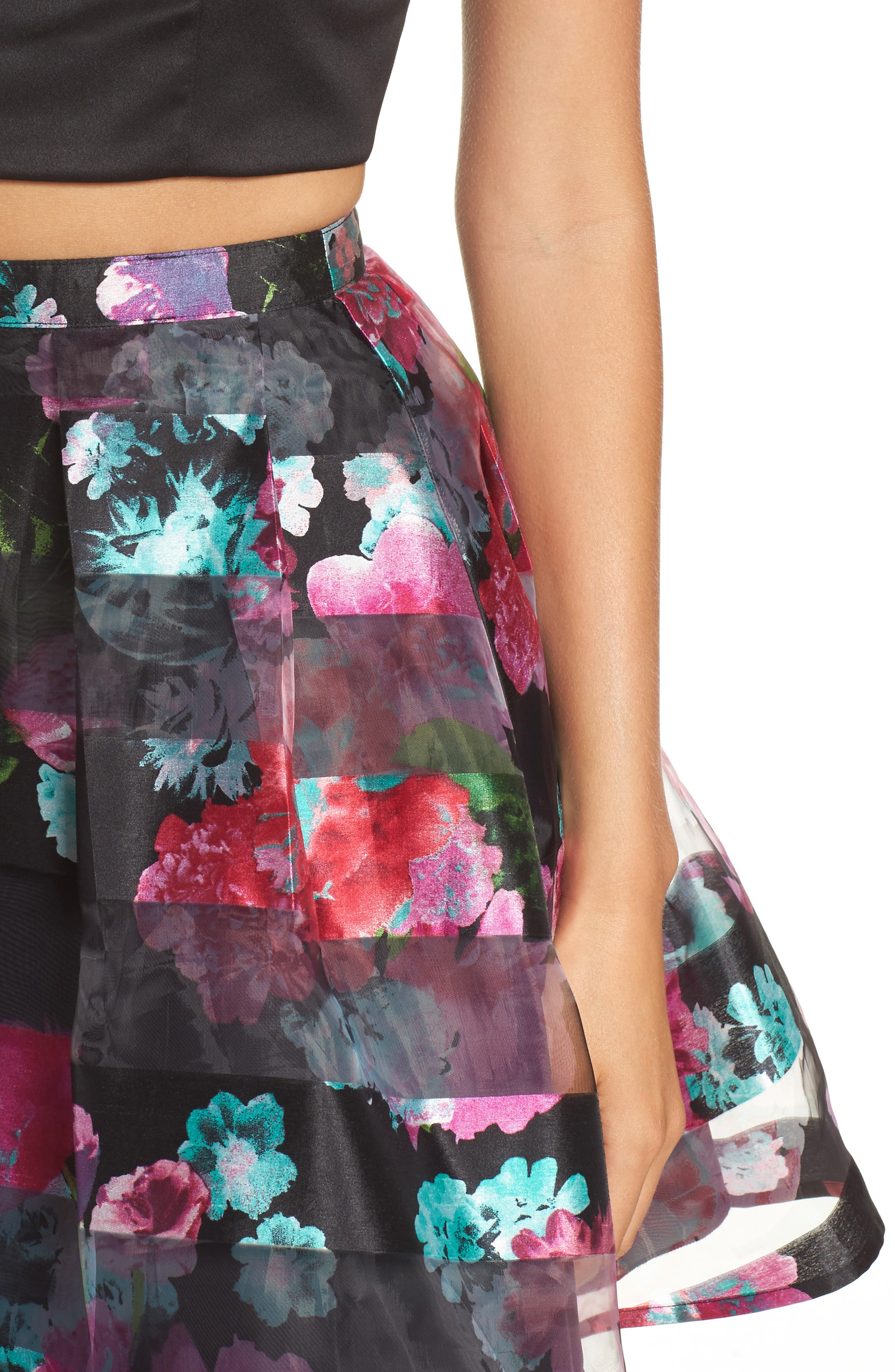 Alternate Image 4  - Sequin Hearts Printed Shadow Skirt Two-Piece Fit & Flare Dress