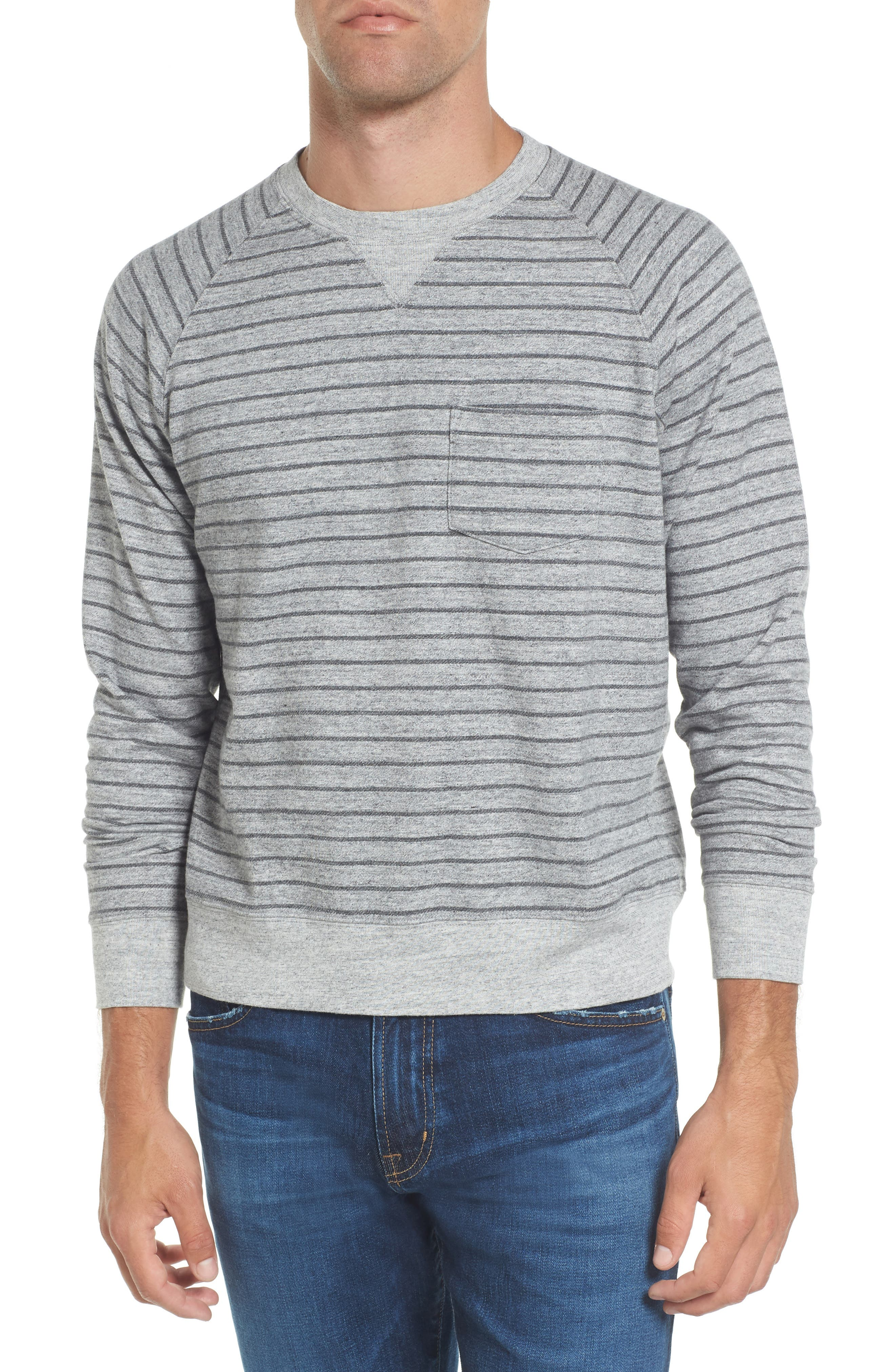 Palmer Modern Fit Athletic Stripe Sweatshirt,                             Main thumbnail 1, color,                             Gray Heather / Charcoal