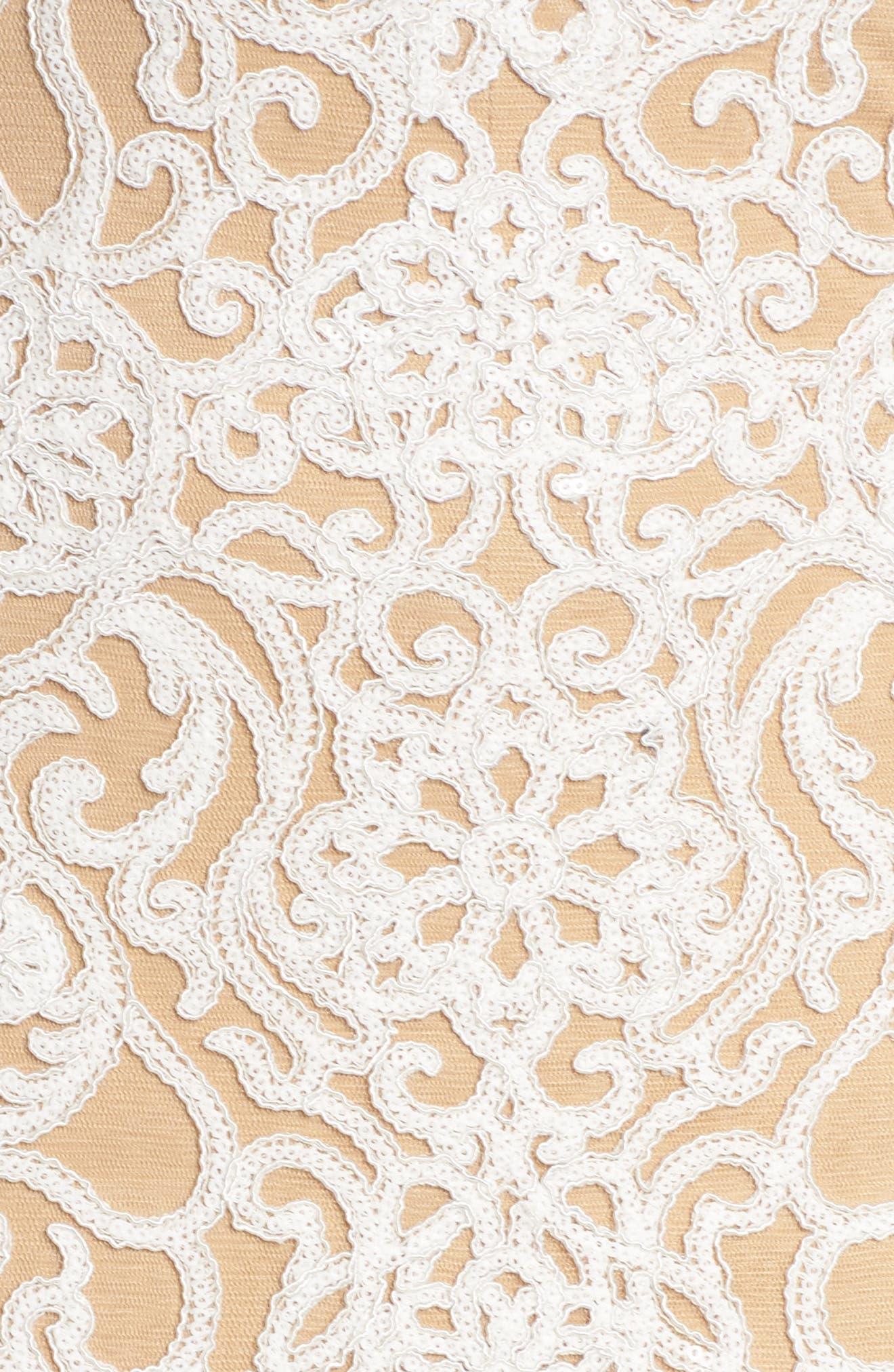 Alternate Image 5  - Tadashi Shoji Lace Front Slit Halter Gown