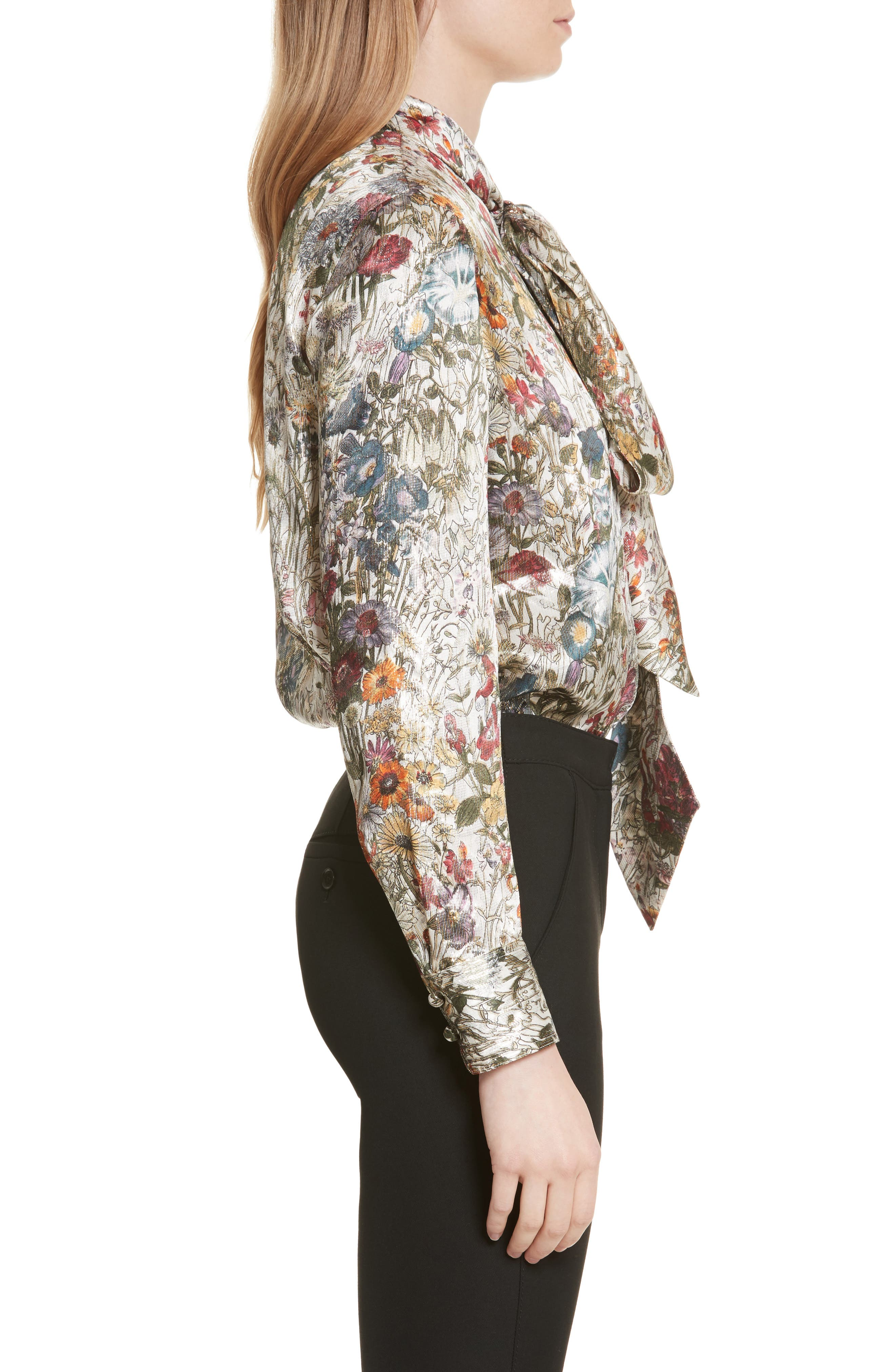 Alternate Image 3  - Tory Burch Tie Neck Metallic Floral Blouse