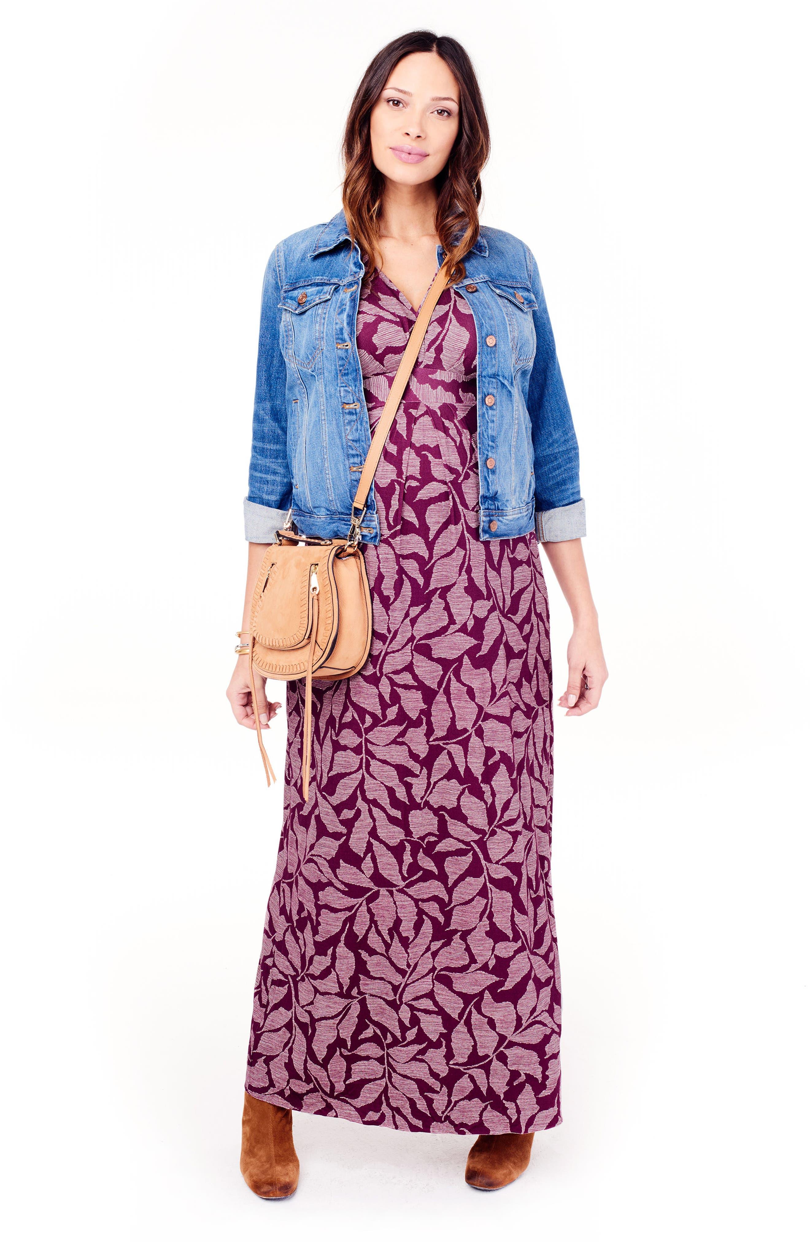 Ingrid & Isabel Split Kimono Sleeve Maternity Maxi Dress,                             Alternate thumbnail 2, color,                             Plum Leaf Print