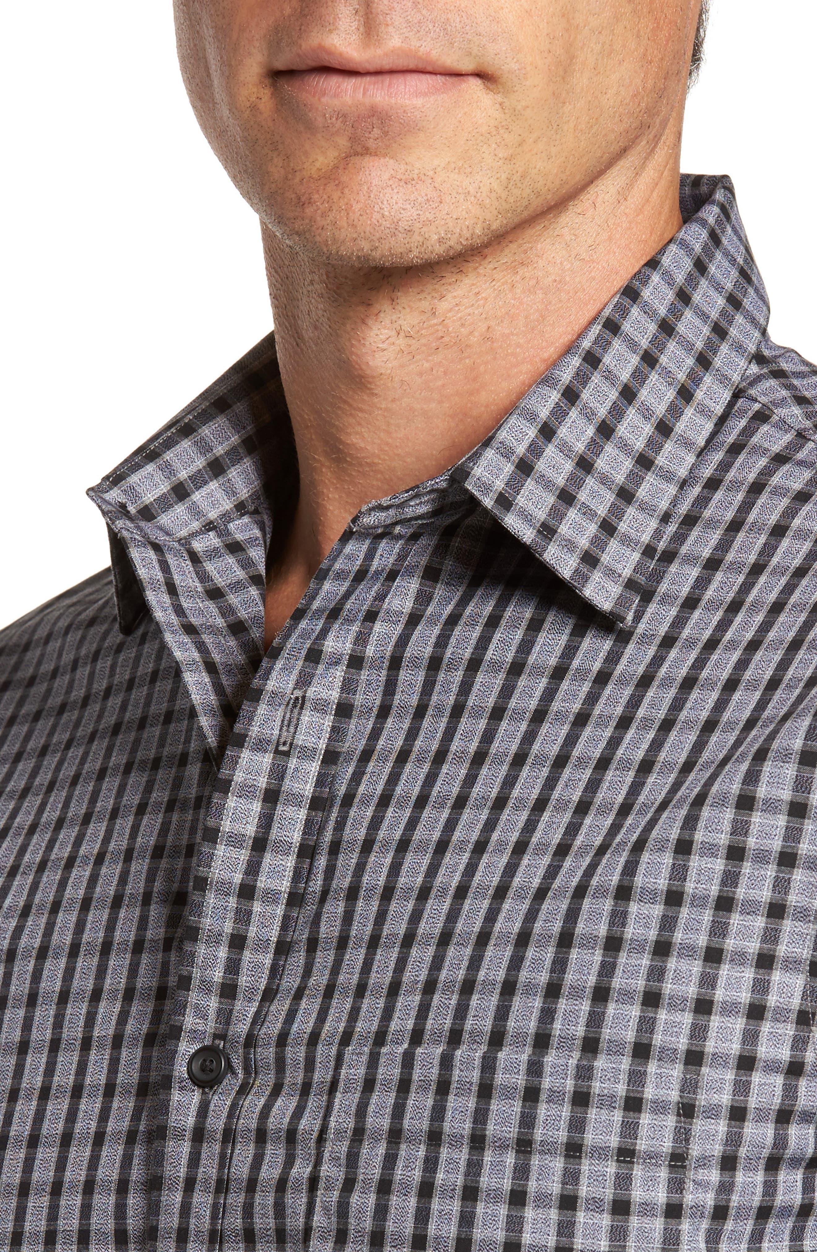 Regular Fit Non-Iron Check Sport Shirt,                             Alternate thumbnail 4, color,                             Grey Shade Black Heather Check