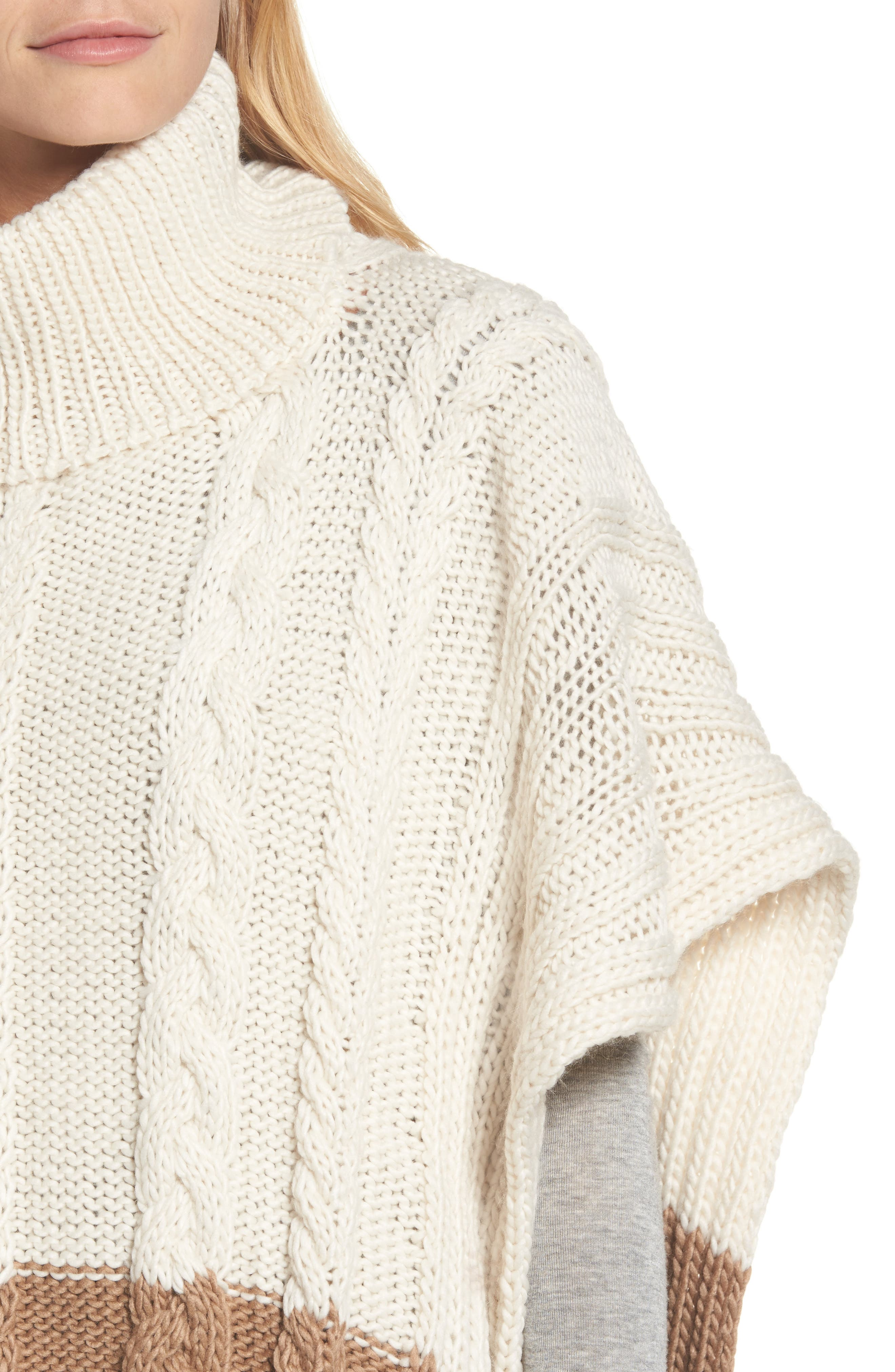 Alternate Image 4  - BCBGMAXAZRIA Cable Knit Poncho