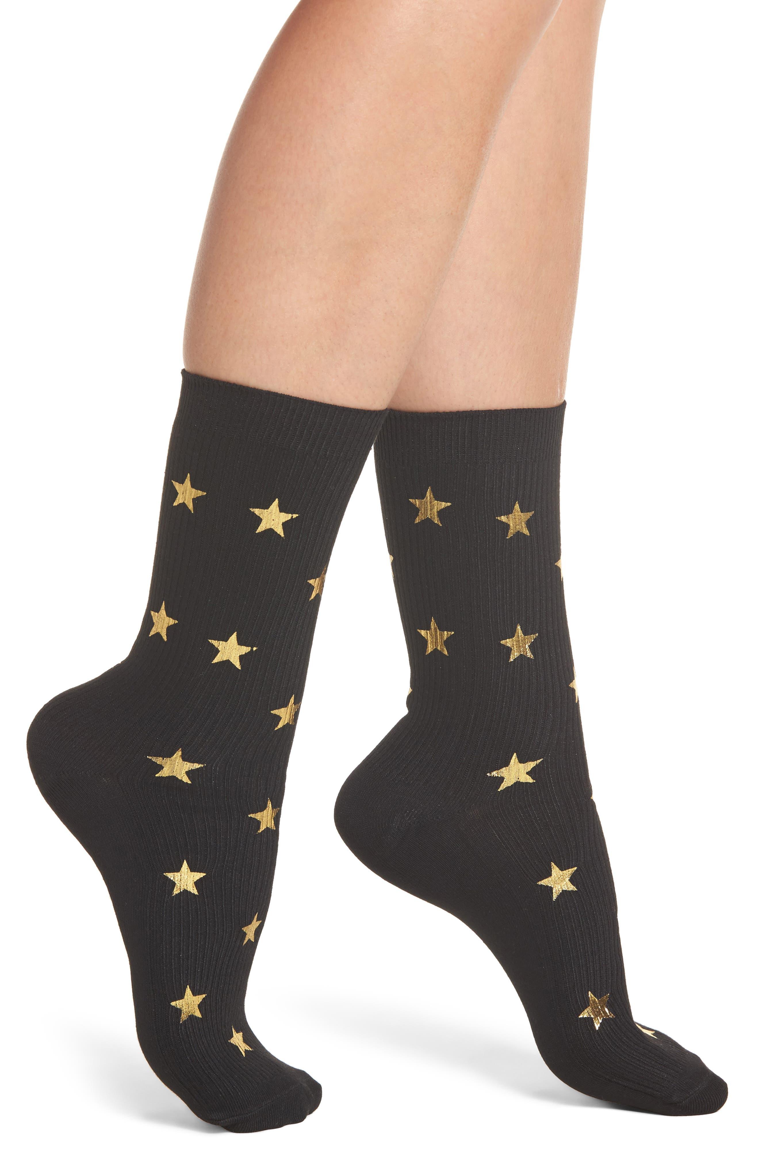 Nordstrom Foil Star Ribbed Crew Socks