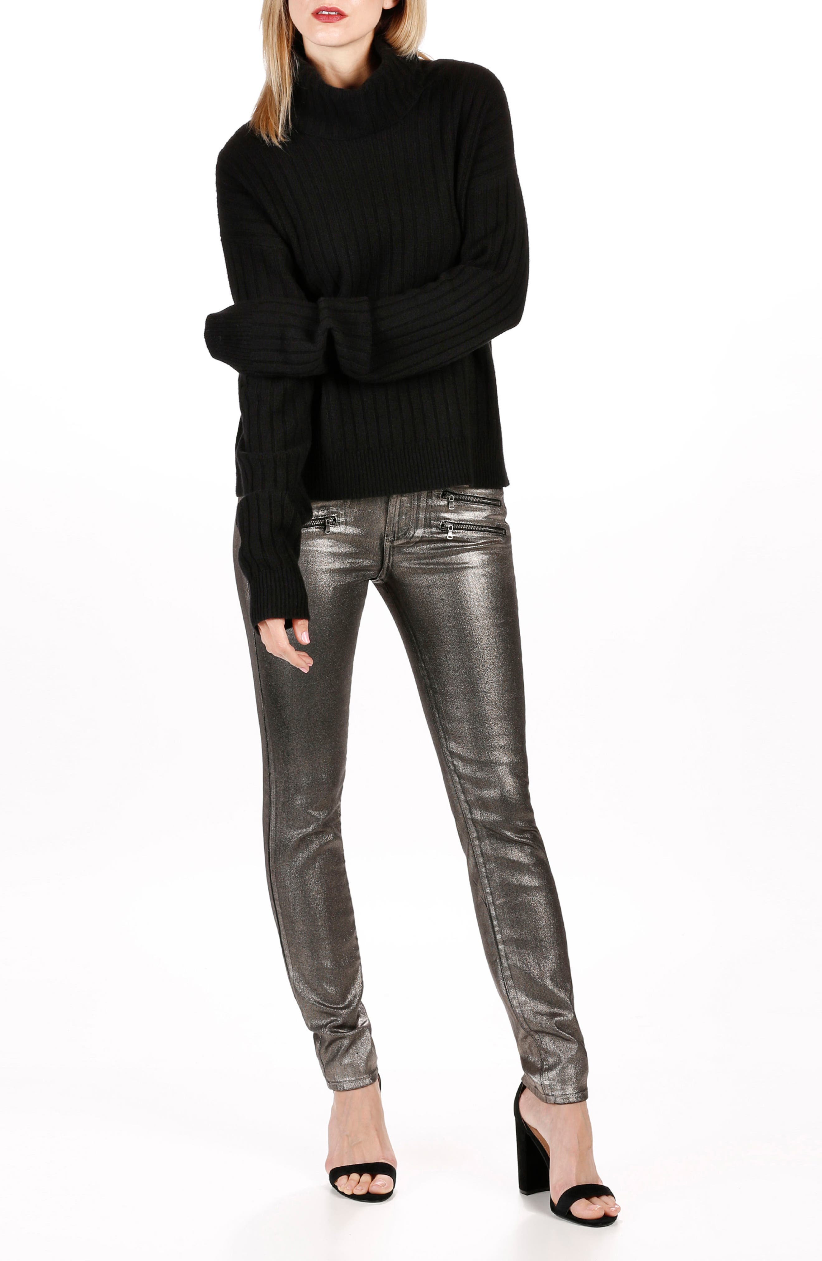 Rosie HW x PAIGE Mina Turtleneck Sweater,                             Alternate thumbnail 2, color,                             Black