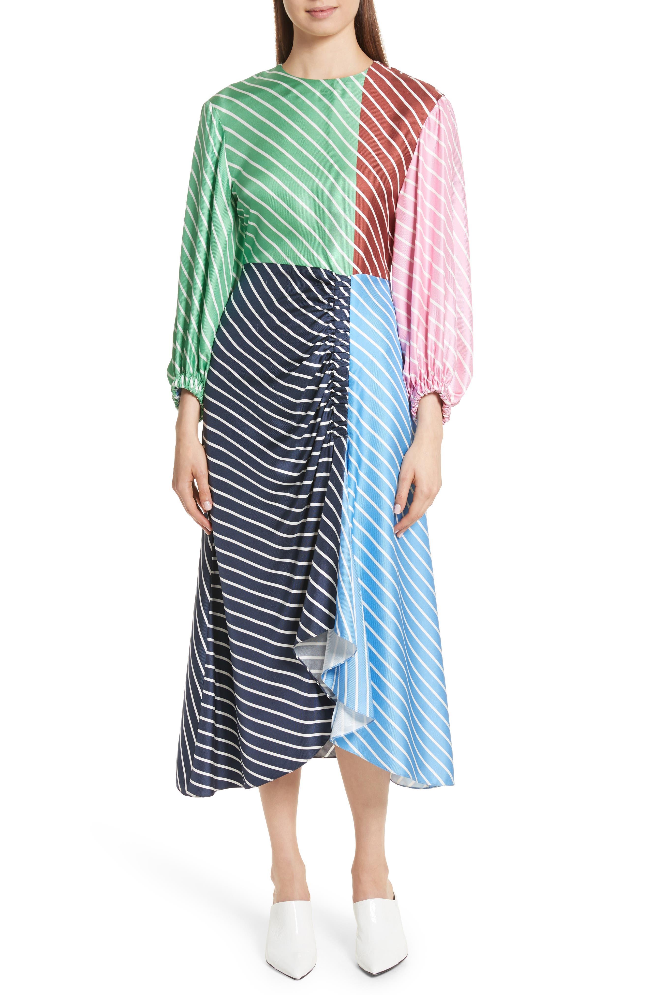 Tibi Delphina Colorblock Stripe Silk Maxi Dress