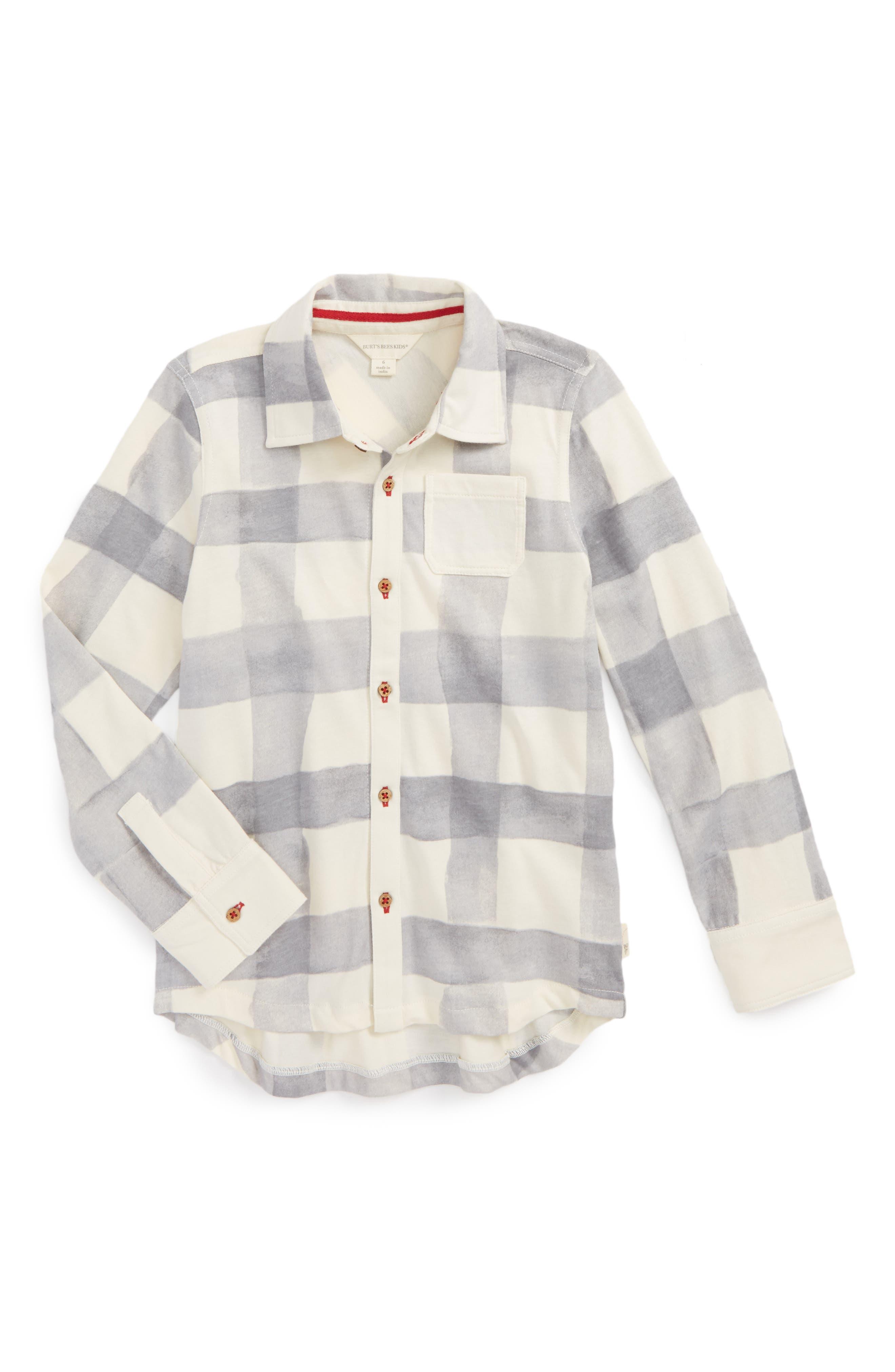 Burt's Bees Baby Watercolor Check Organic Cotton Shirt (Toddler Boys & Little Boys)