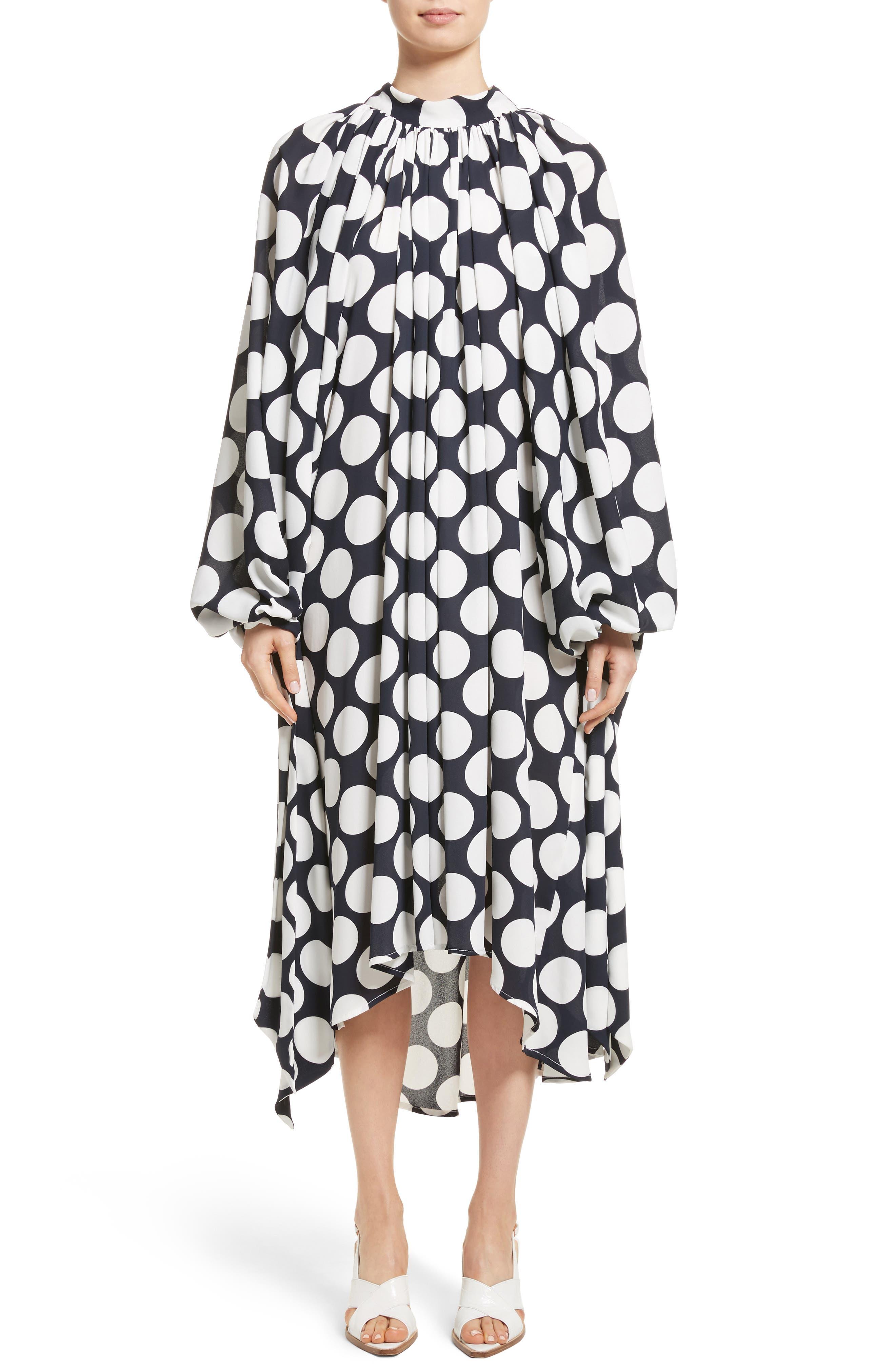 Giant Polka Dot Gathered Collar Dress,                         Main,                         color, Navy/ Off-White