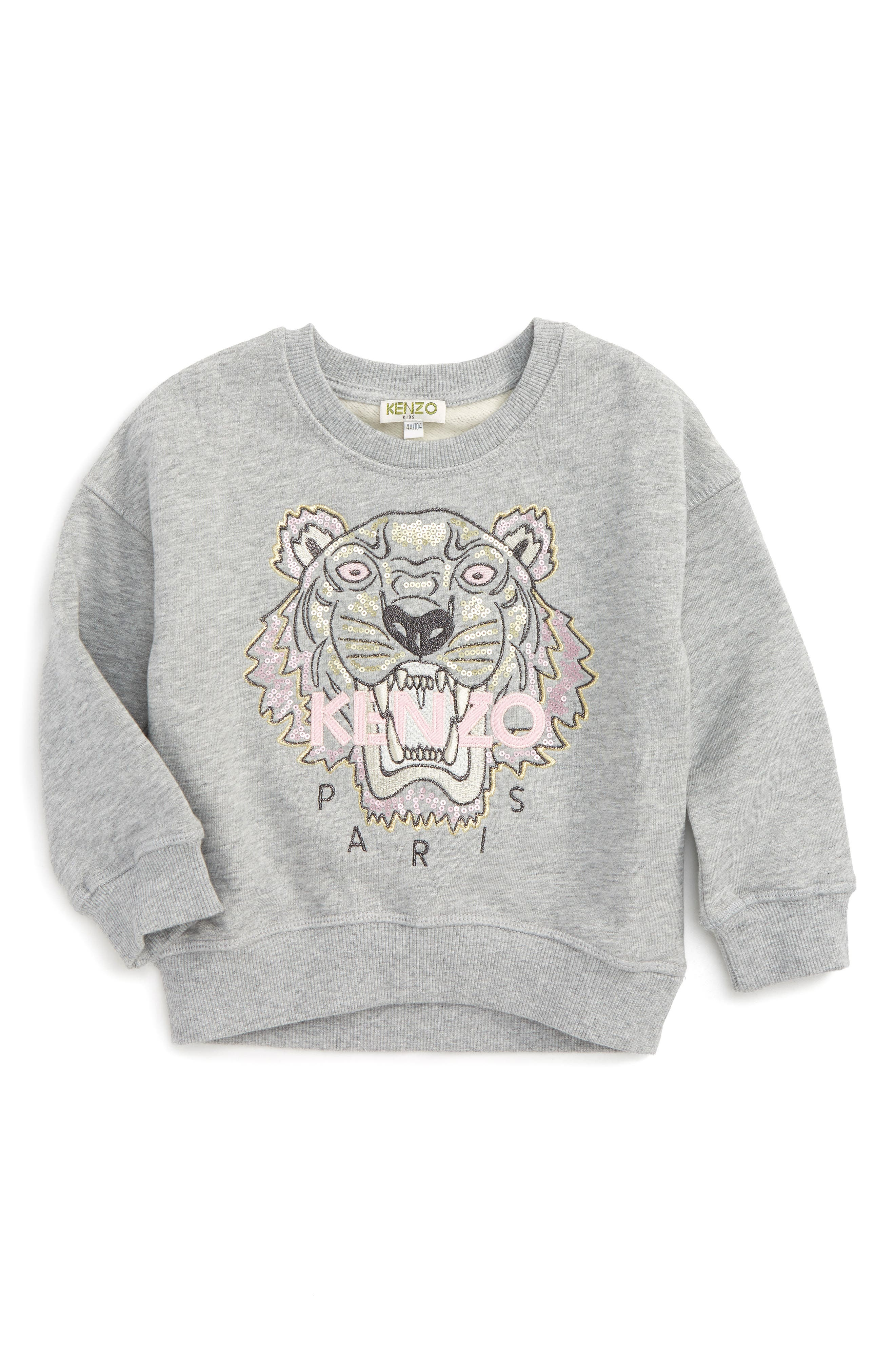 Embroidered Tiger Logo Sweatshirt,                         Main,                         color, Grey Chine