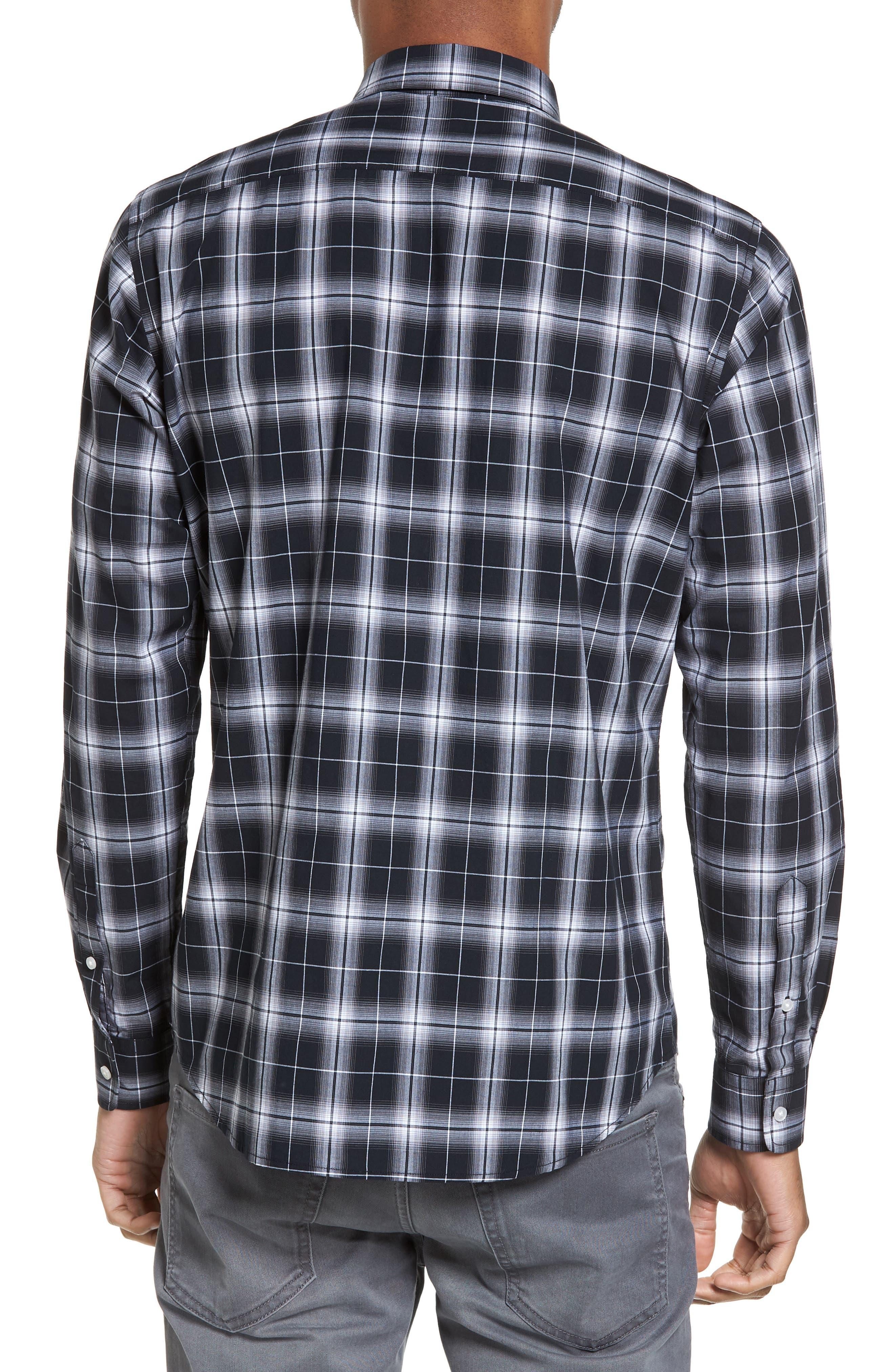 Alternate Image 2  - Slate & Stone Trim Fit Ombré Plaid Sport Shirt