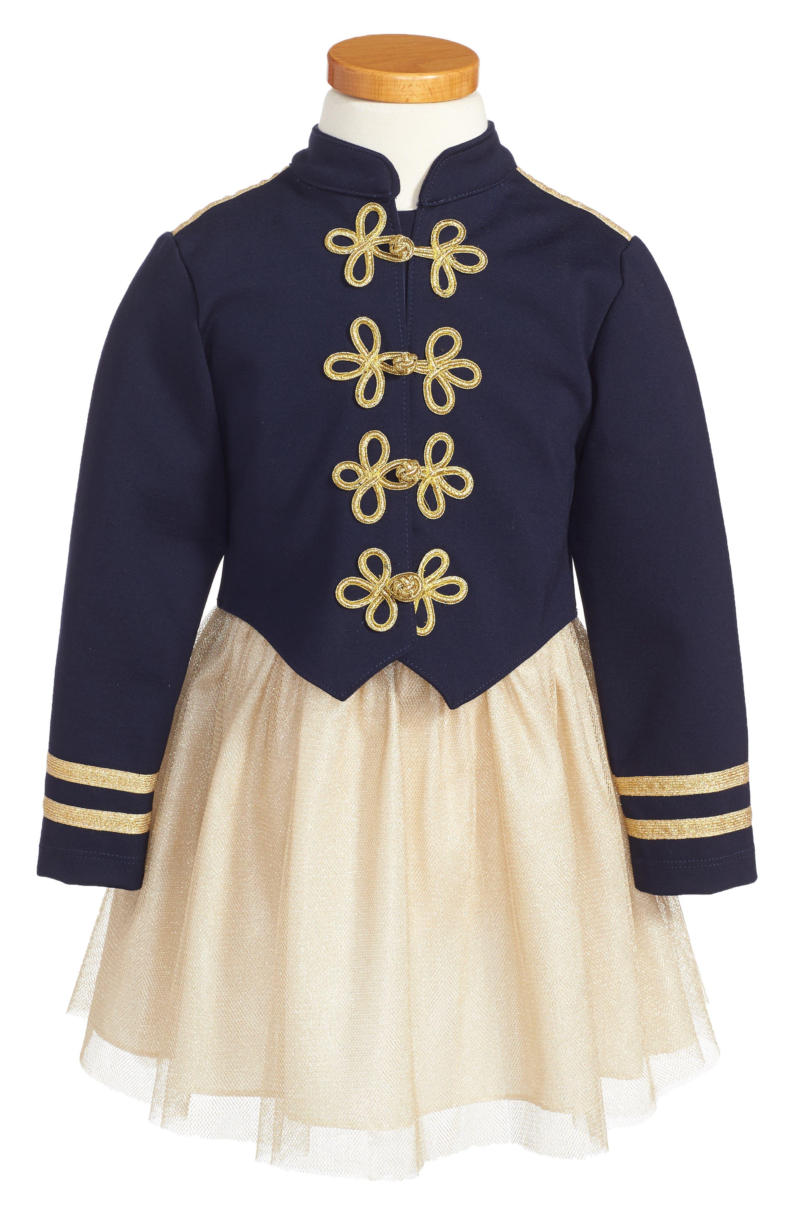 Majorette Jacket & Tank Dress Set,                             Main thumbnail 1, color,                             Navy/ Gold