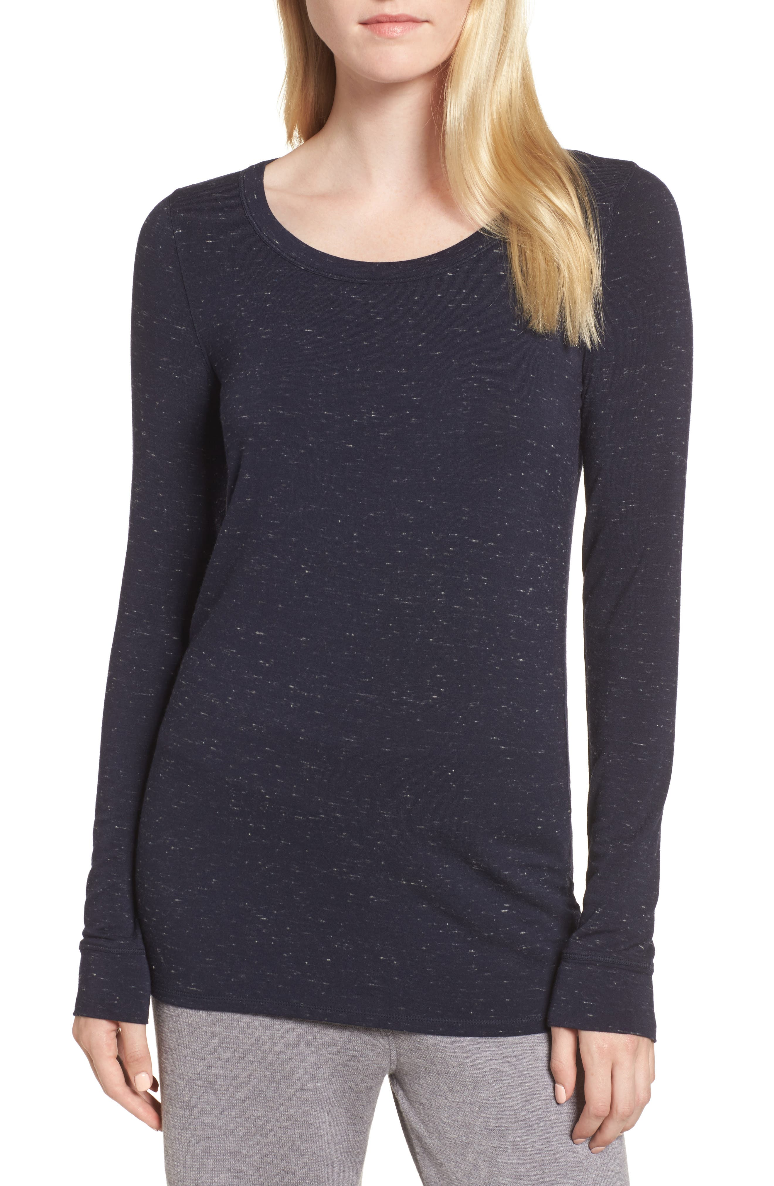 Long Sleeve Slub Knit Tee,                             Main thumbnail 1, color,                             Navy- Ivory Speckled Combo