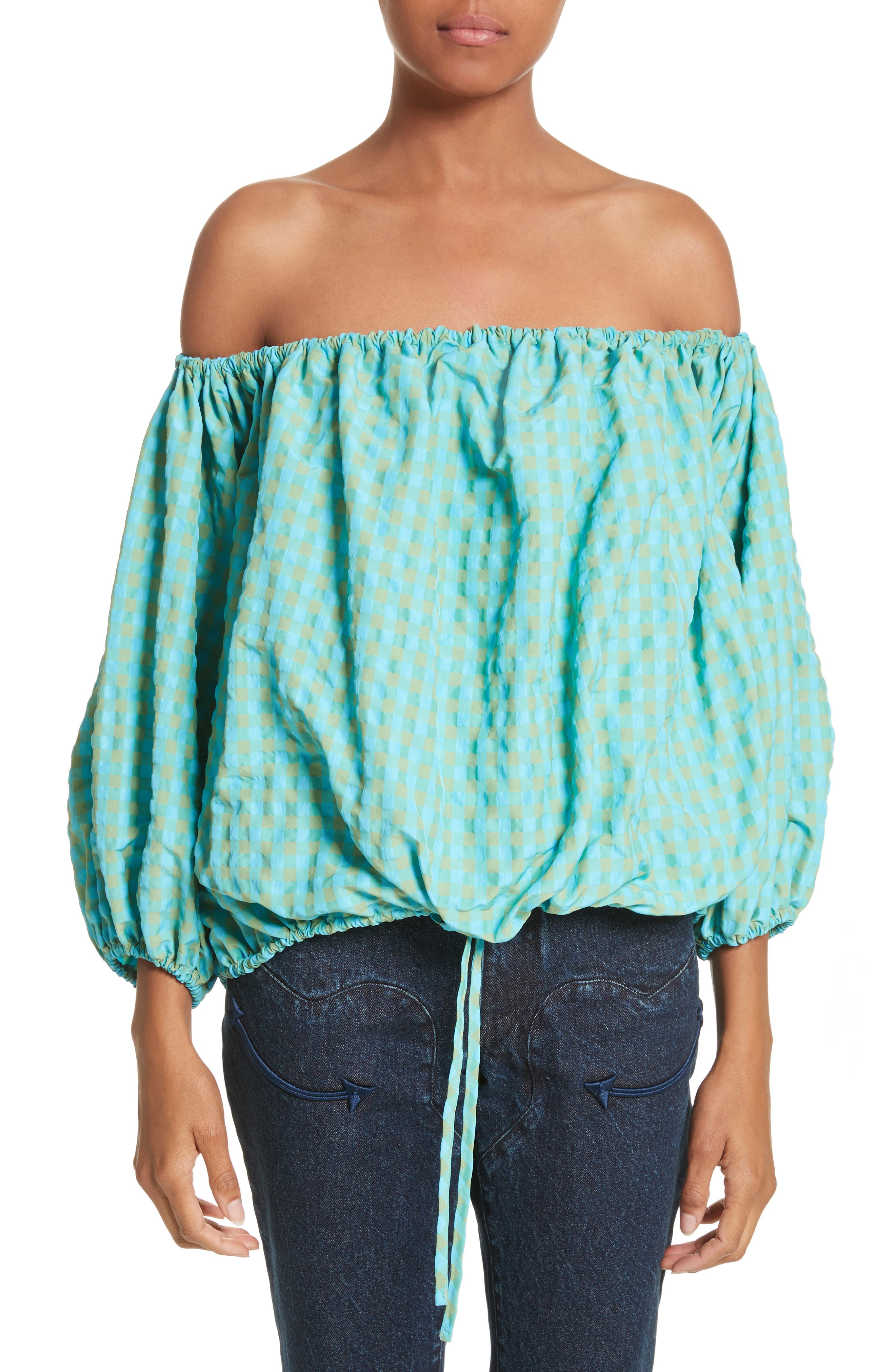 Marques'Almeida Off the Shoulder Gingham Top,                             Main thumbnail 1, color,                             Turquoise Gingham