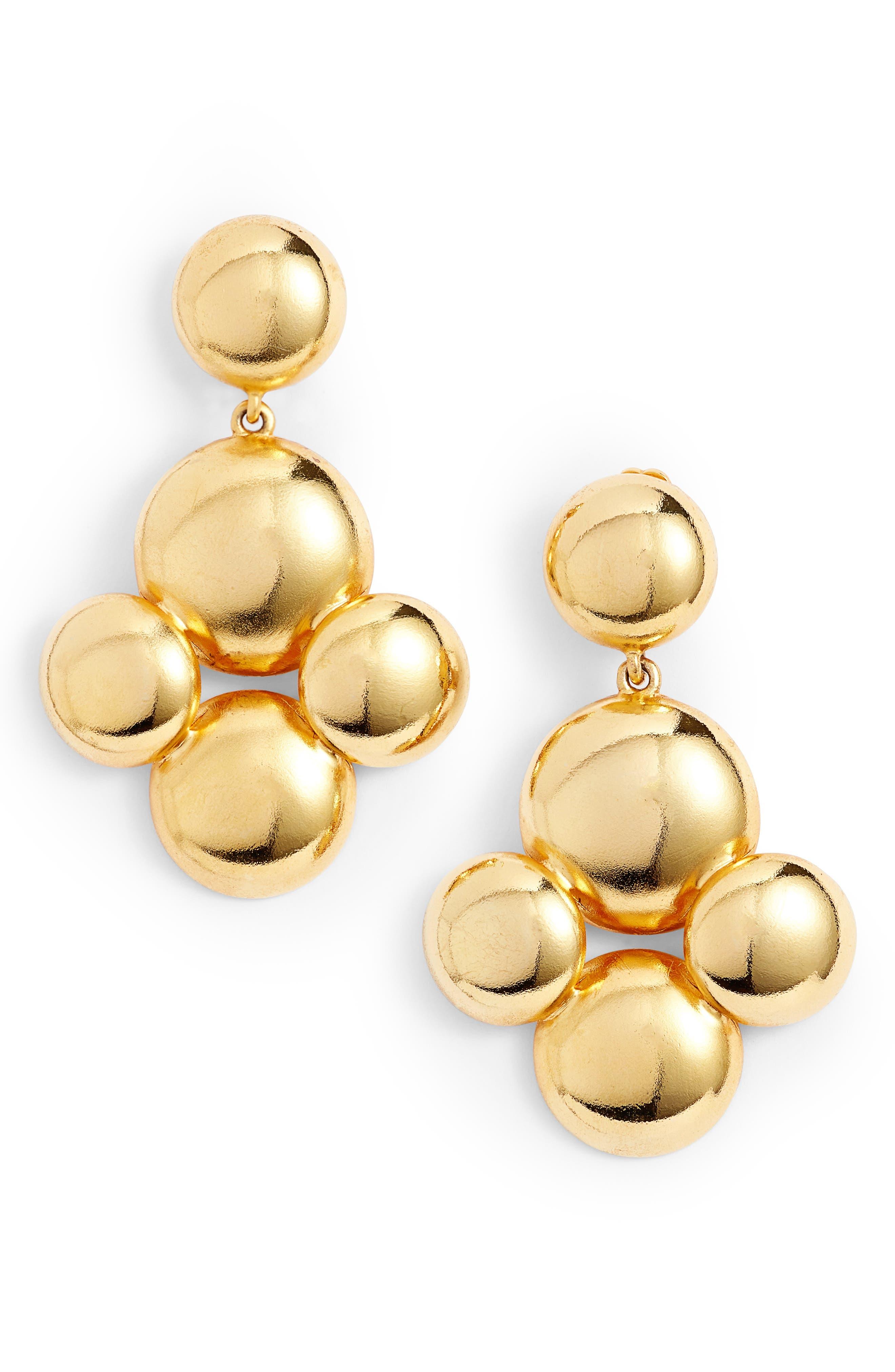 Beaded Drop Earrings,                         Main,                         color, Gold