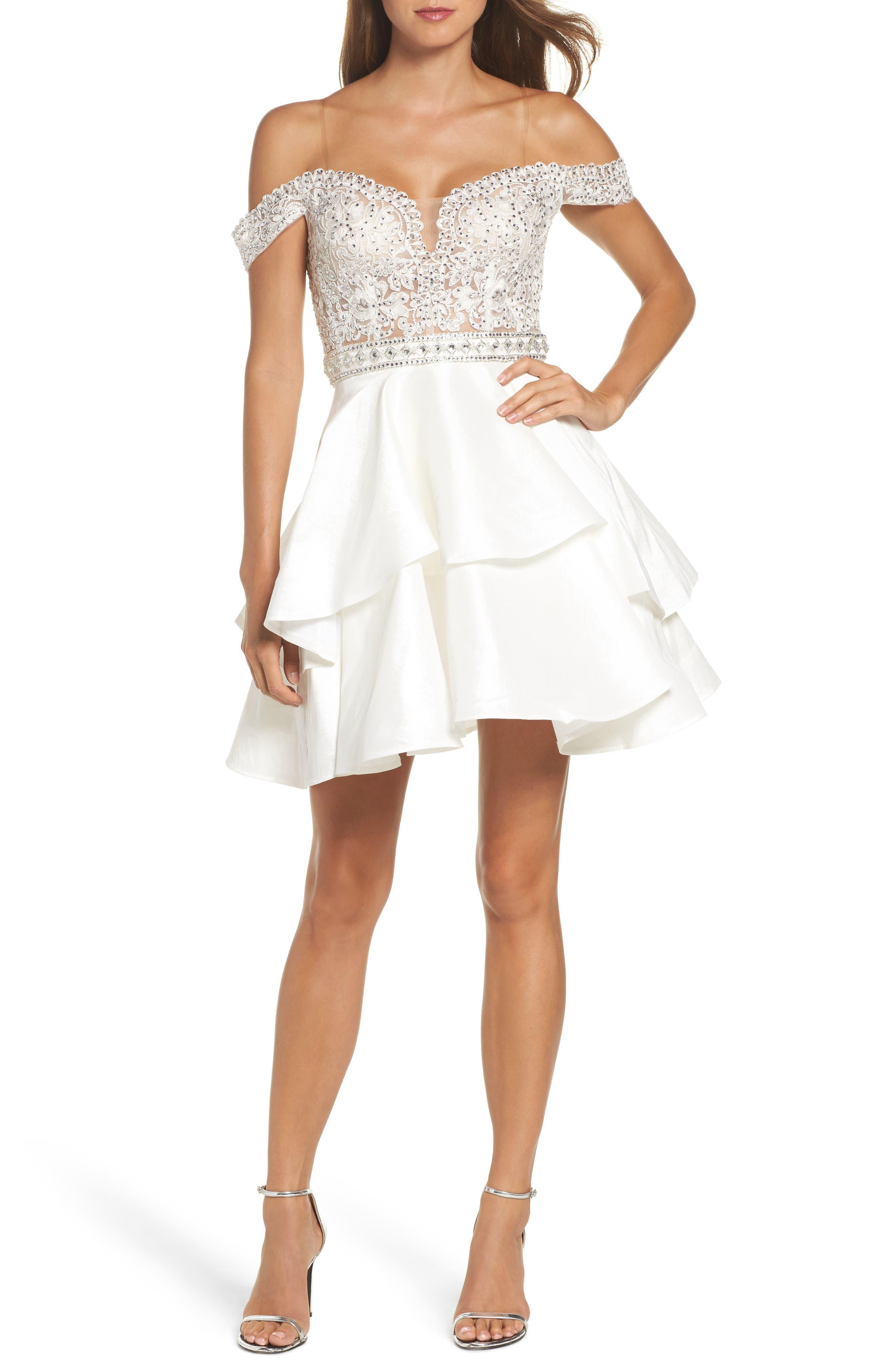 Sean Collection Embellished Off the Shoulder Fit & Flare Dress