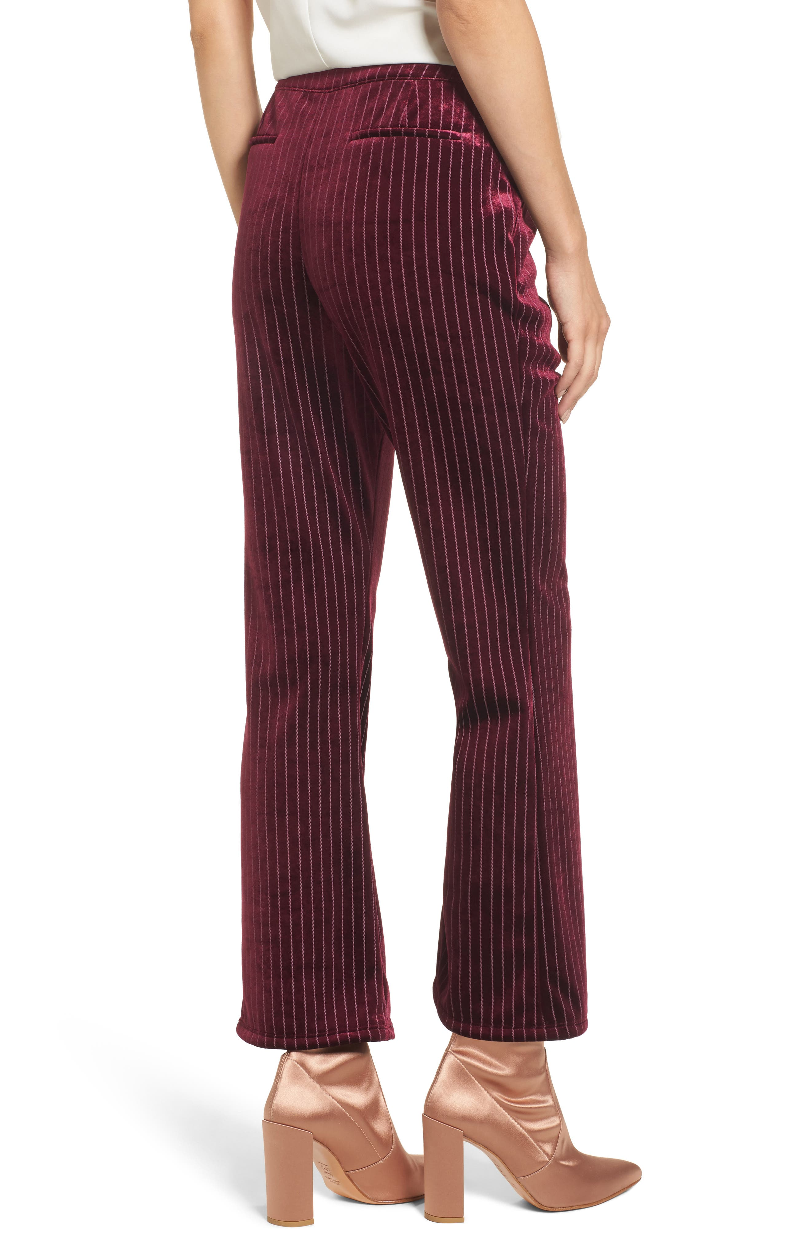 Velour Ankle Trousers,                             Alternate thumbnail 2, color,                             Red Tannin Dotted Stripe