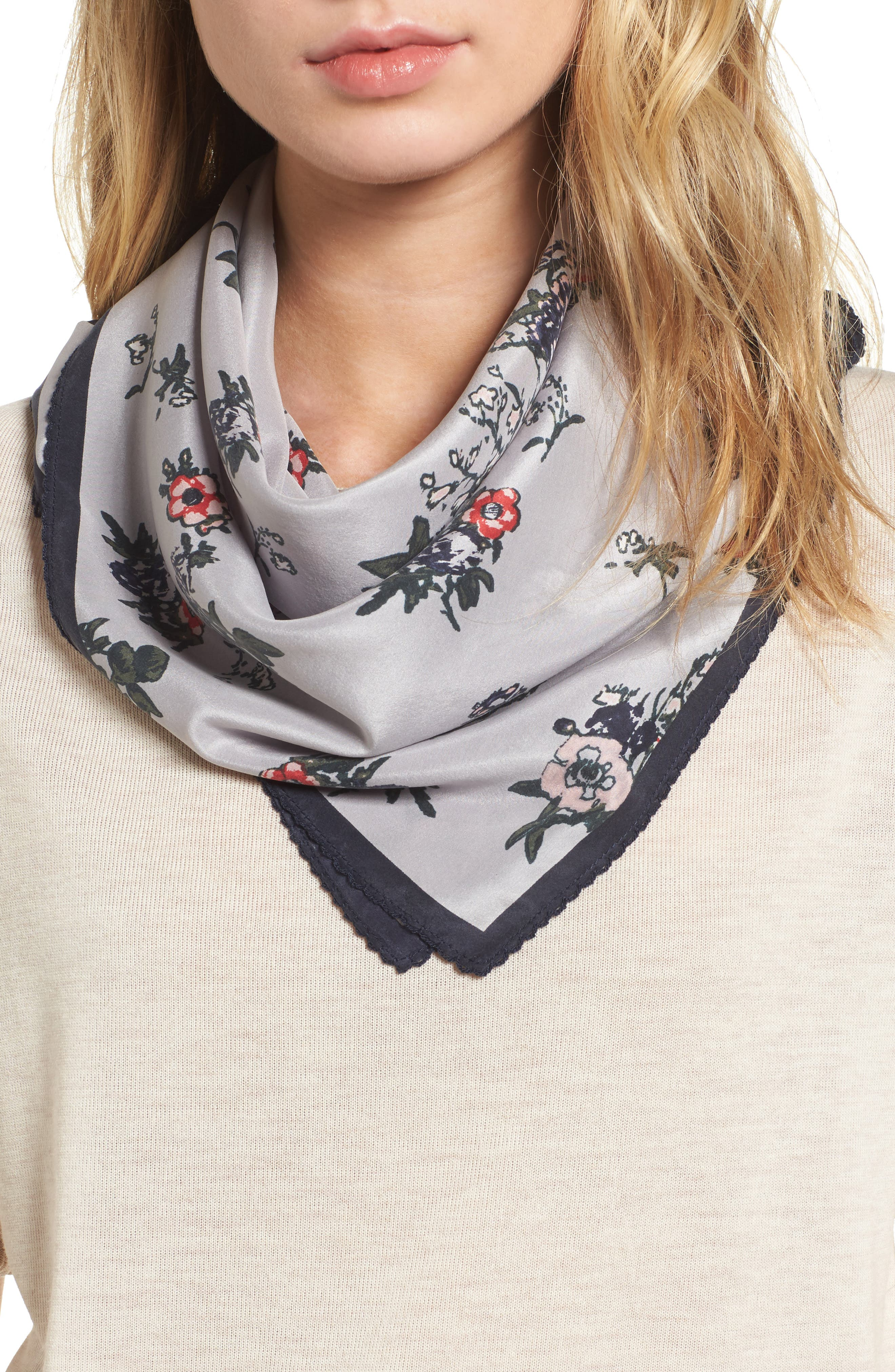 Treasure & Bond x Something Navy Floral Bouquet Silk Square Scarf