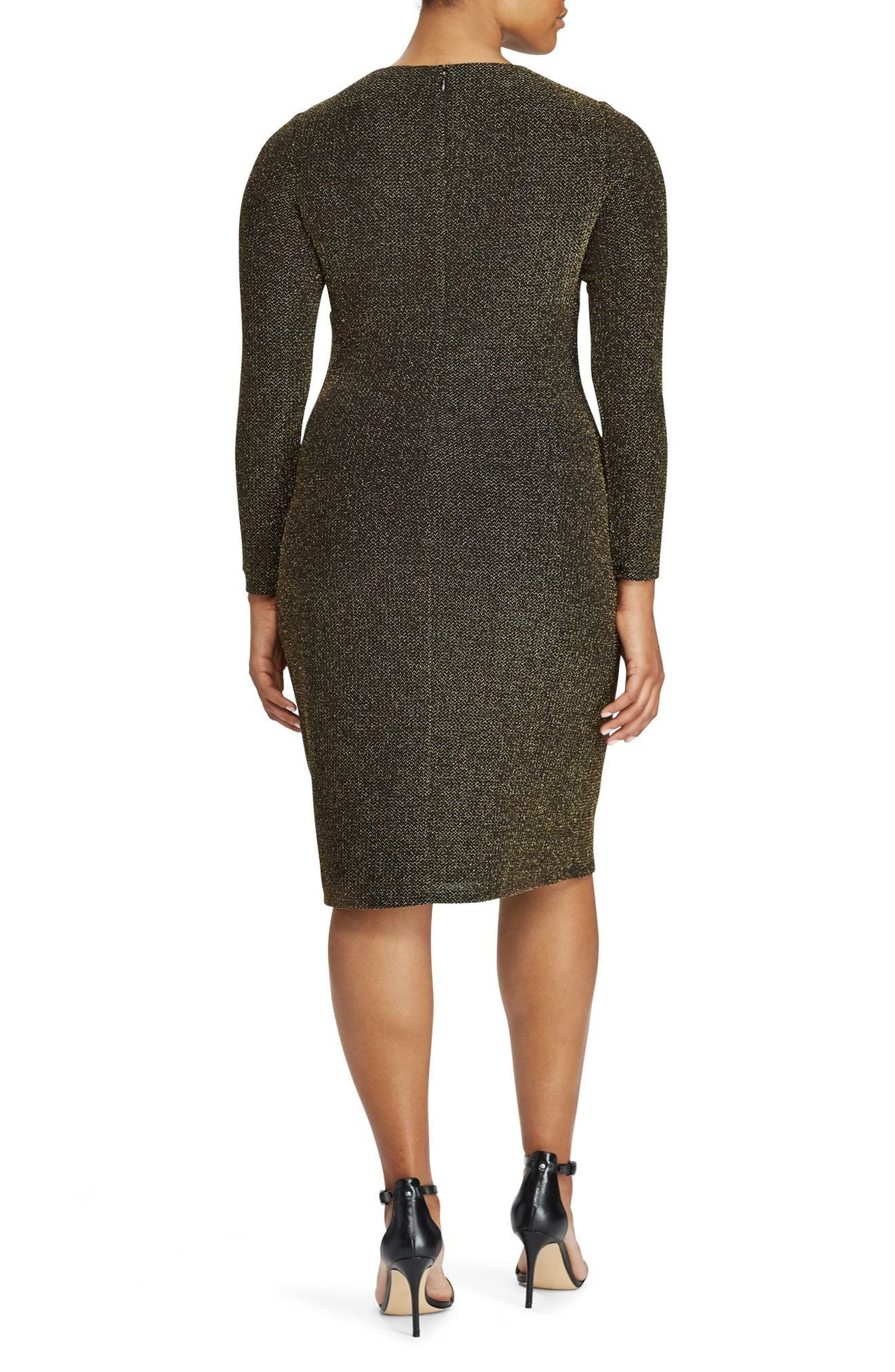 Metallic Knit Faux Wrap Dress,                             Alternate thumbnail 2, color,                             Black-Gold
