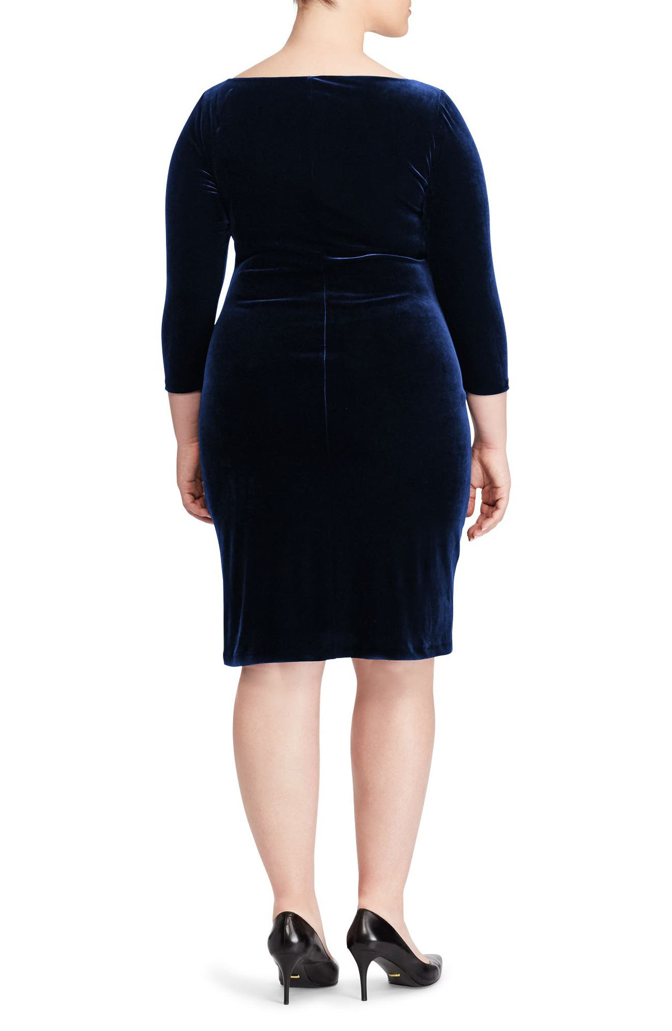 Alternate Image 2  - Ralph Lauren Stretch Velvet Sheath Dress (Plus Size)
