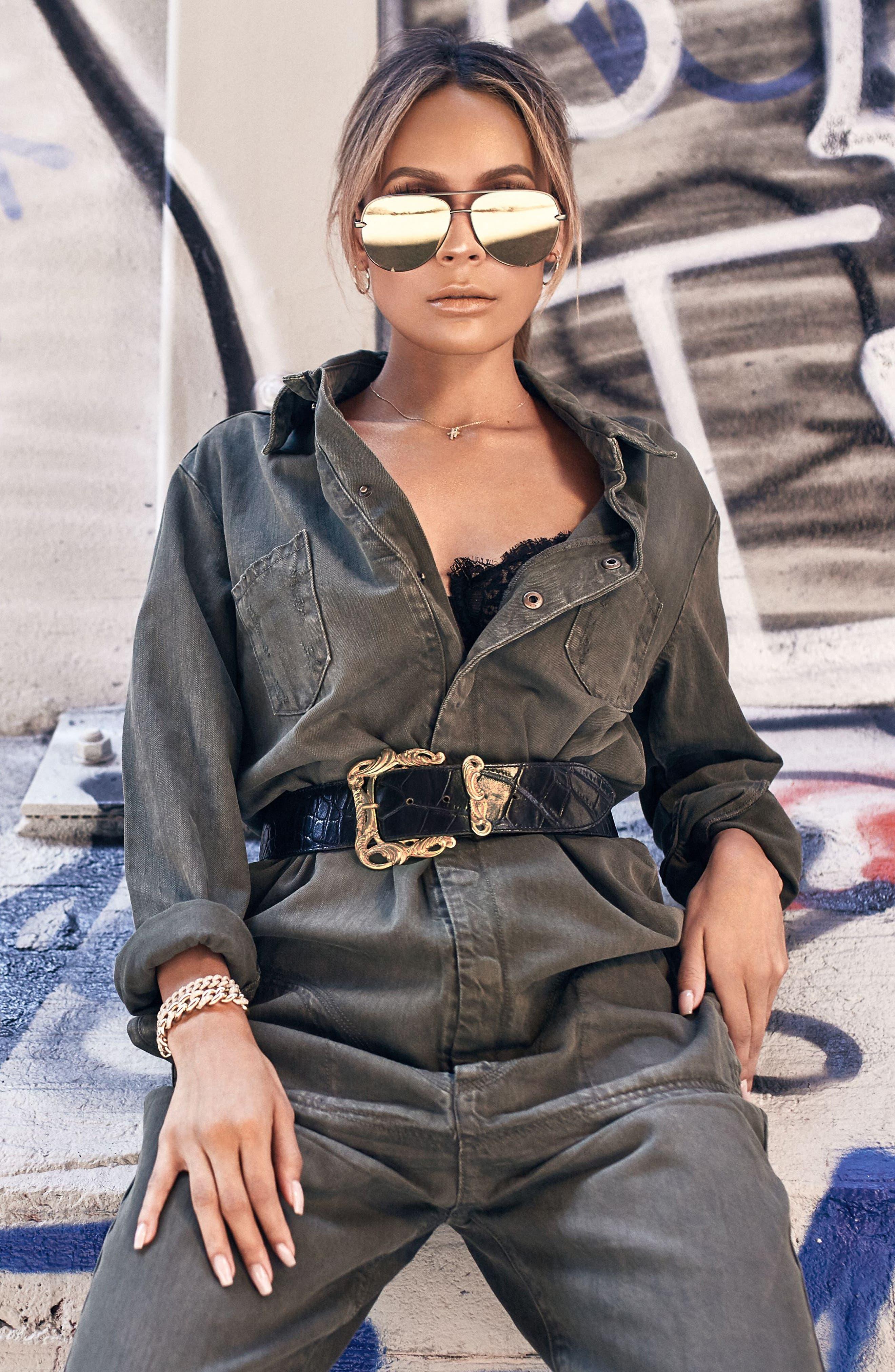x Desi Perkins High Key 60mm Aviator Sunglasses,                             Alternate thumbnail 2, color,                             Green/ Gold