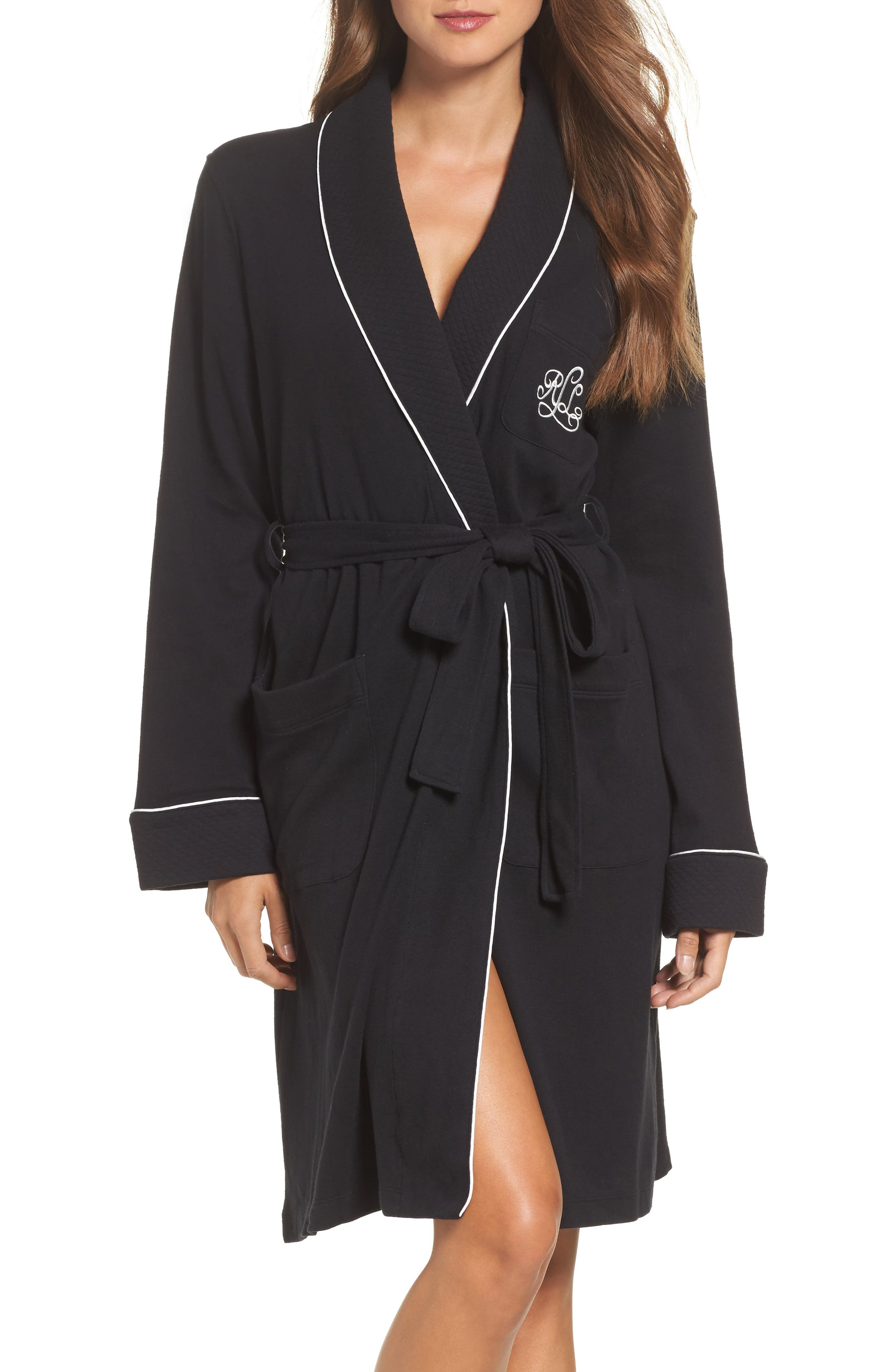 Quilted Collar Robe,                         Main,                         color, Black