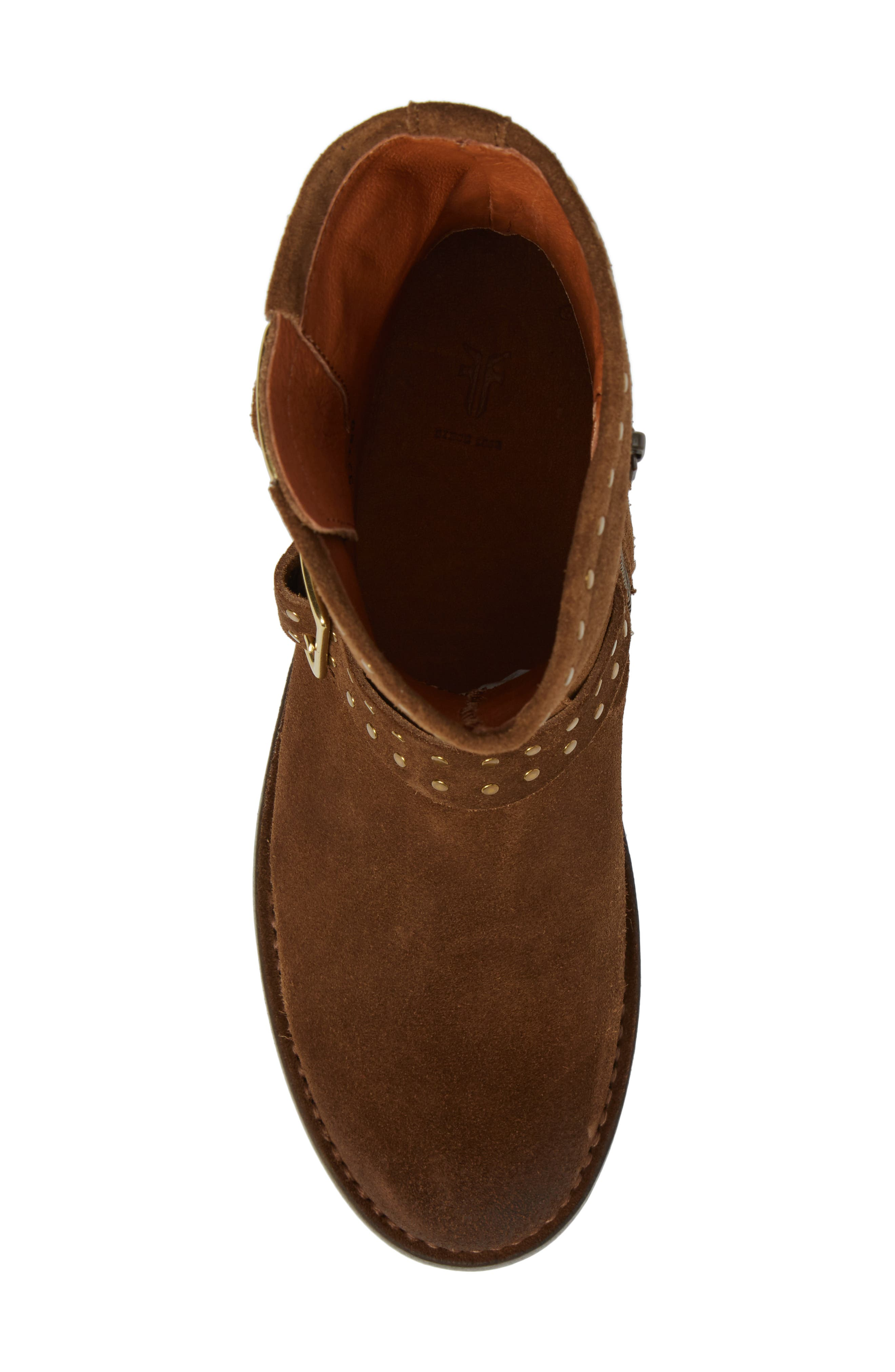 Vicky Stud Engineer Boot,                             Alternate thumbnail 5, color,                             Chestnut Suede