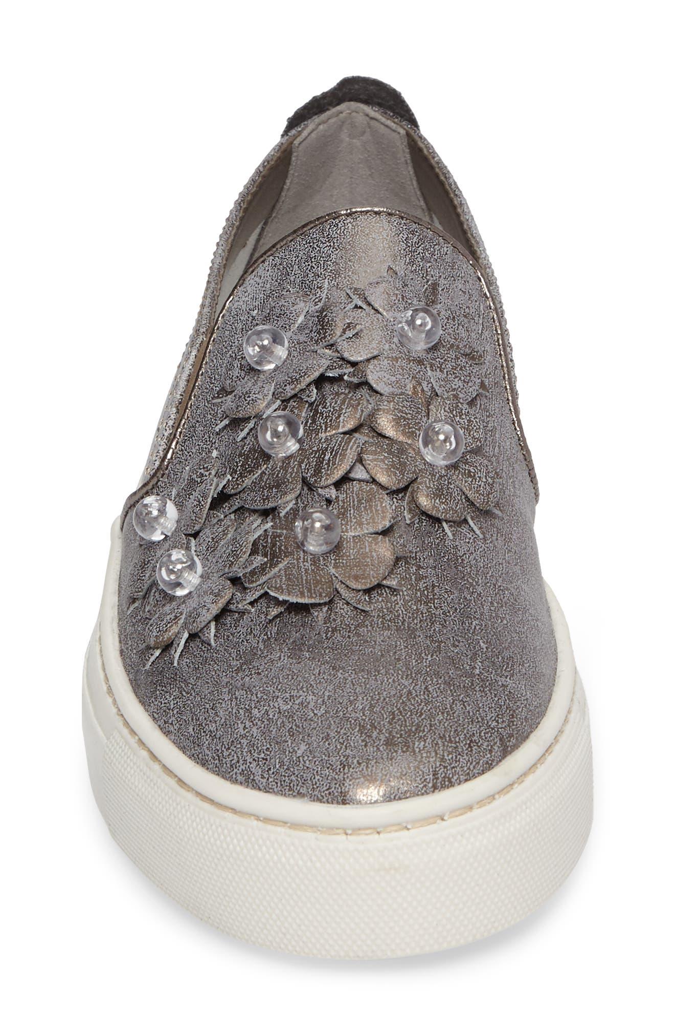Sneak Blossom Slip-On Sneaker,                             Alternate thumbnail 4, color,                             Gunmetal