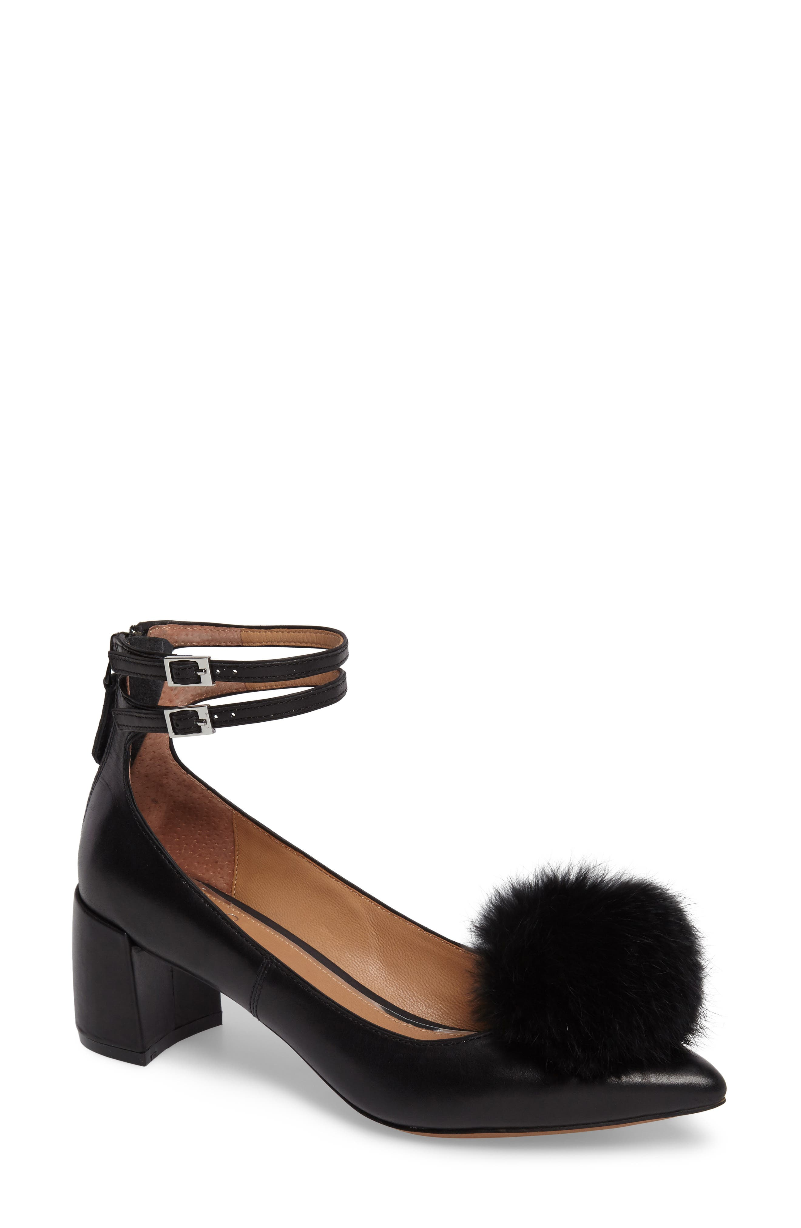Nadine Ankle Strap Pump,                             Main thumbnail 1, color,                             Black Leather