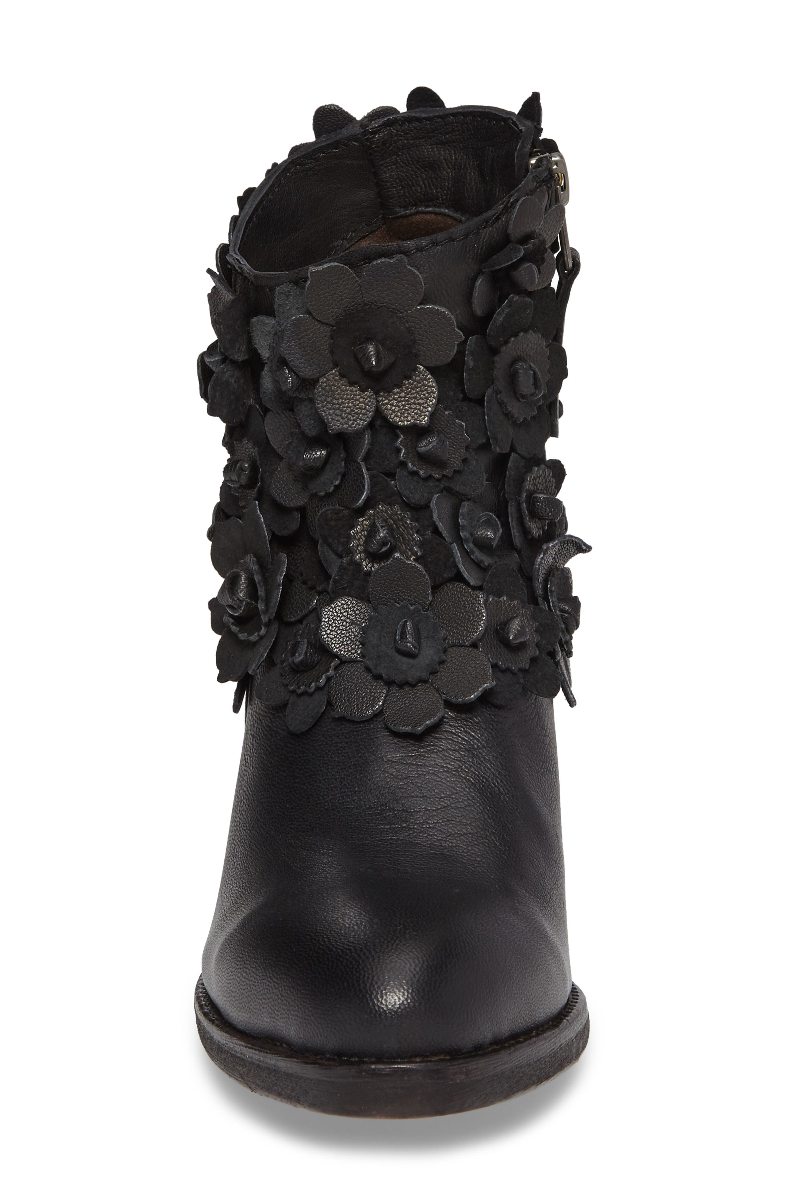 Saffron Bootie,                             Alternate thumbnail 4, color,                             Black Leather