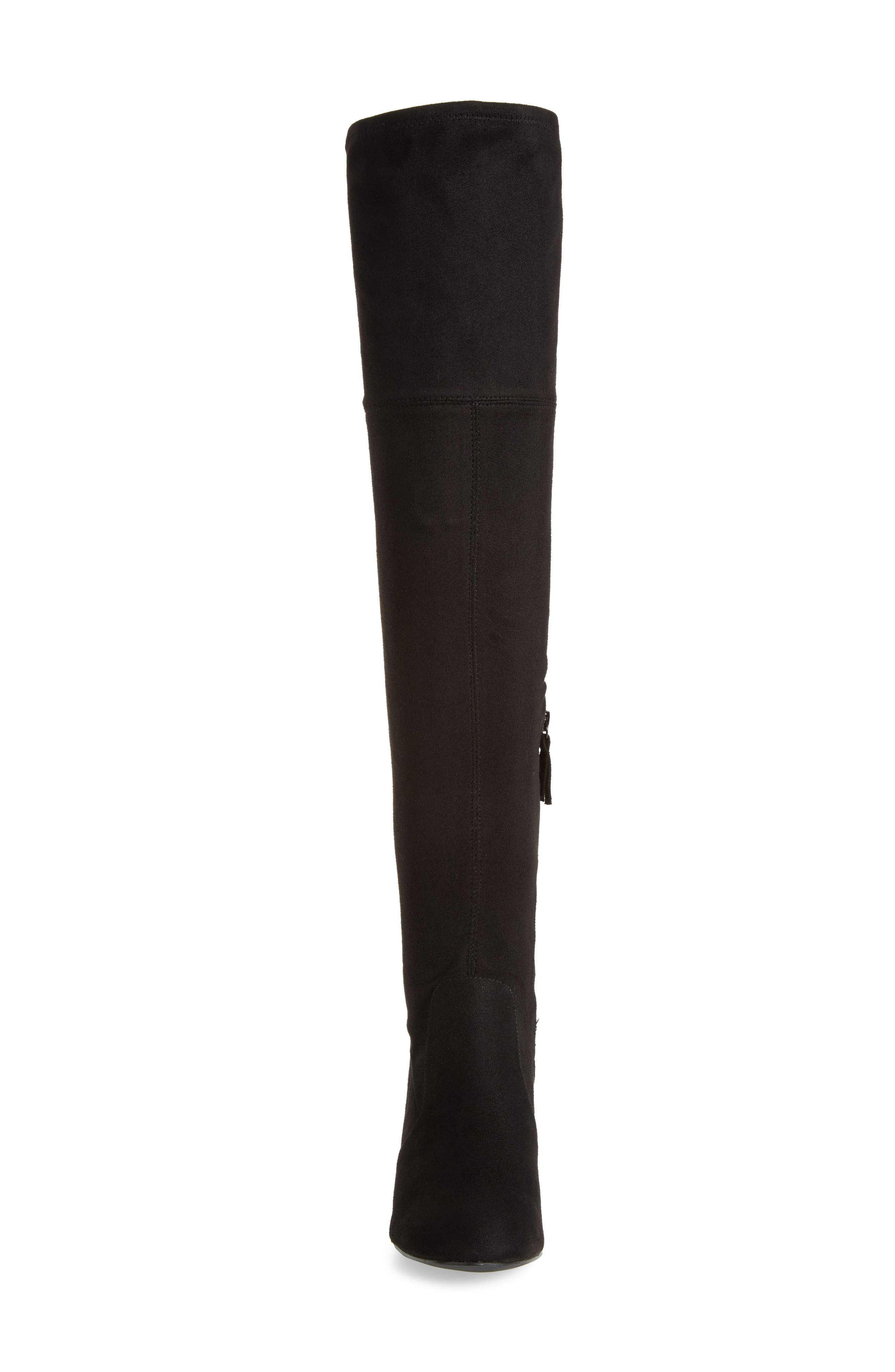 Ollie Over the Knee Boot,                             Alternate thumbnail 4, color,                             Black Microsuede