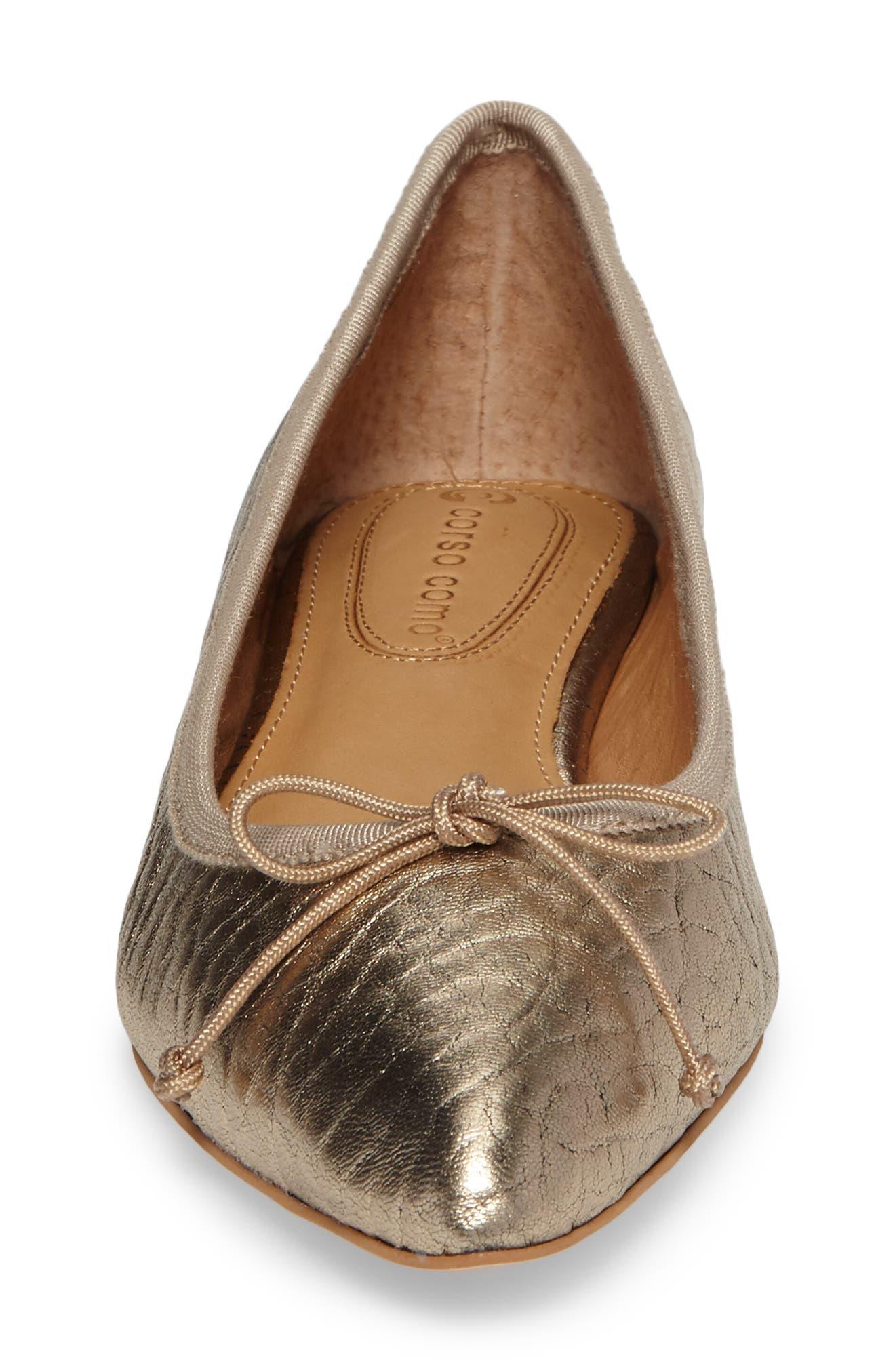 'Recital' Pointy Toe Flat,                             Alternate thumbnail 4, color,                             Platinum Leather