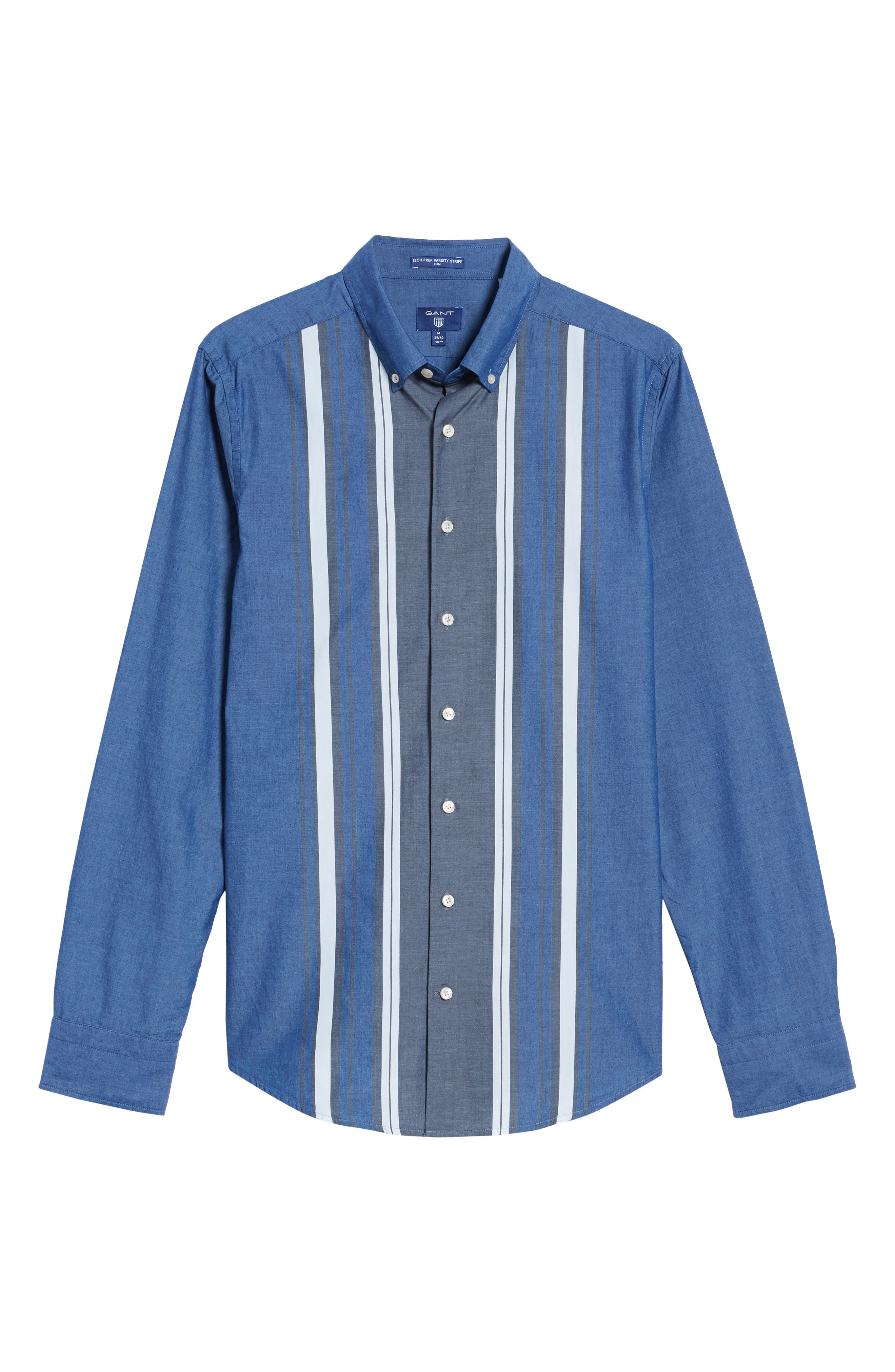 Tech Slim Fit Varsity Stripe Sport Shirt,                             Alternate thumbnail 6, color,                             Evening Blue