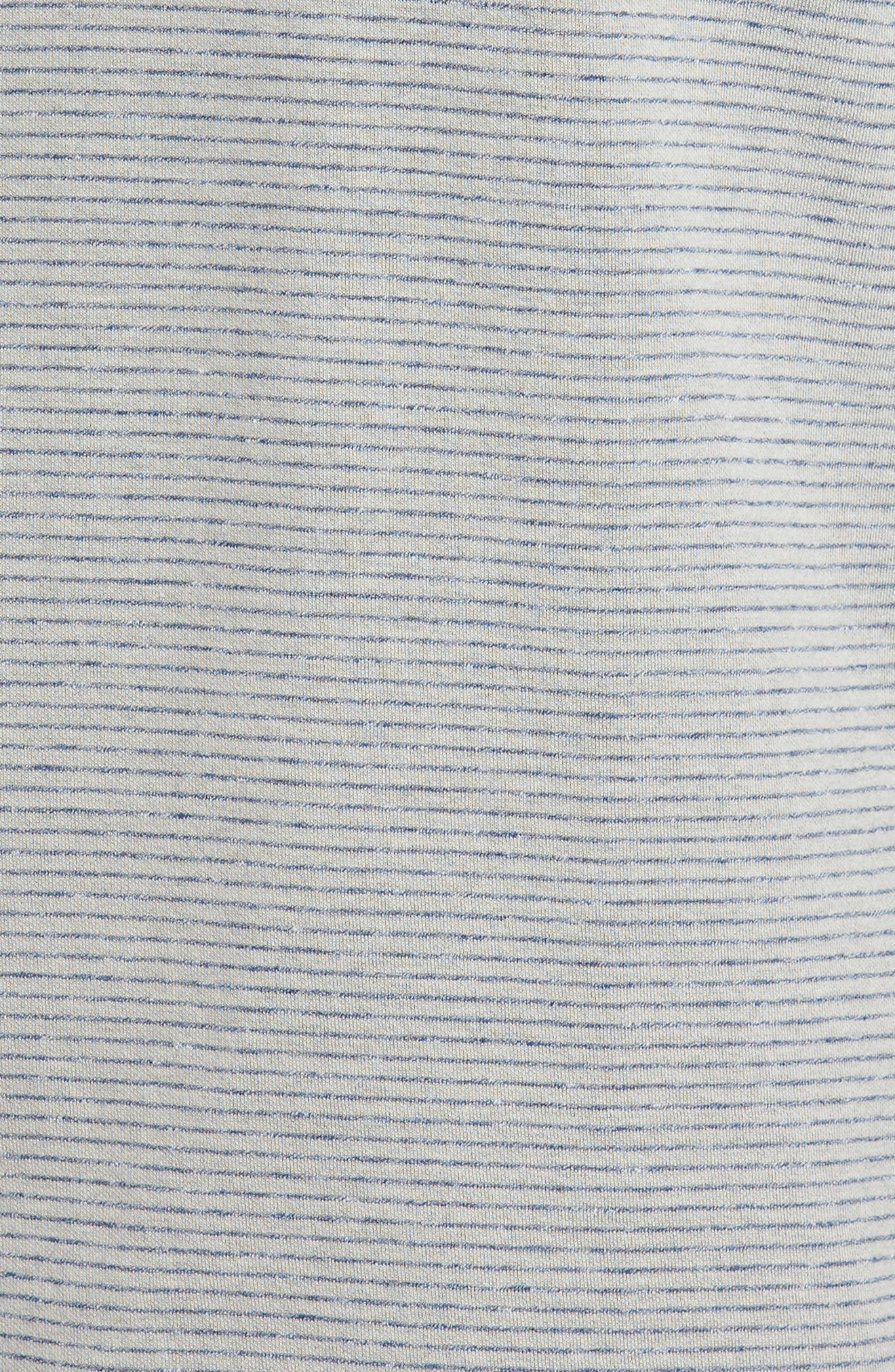 Classic Fit Pinstripe Quarter Zip Pullover,                             Alternate thumbnail 5, color,                             Cement