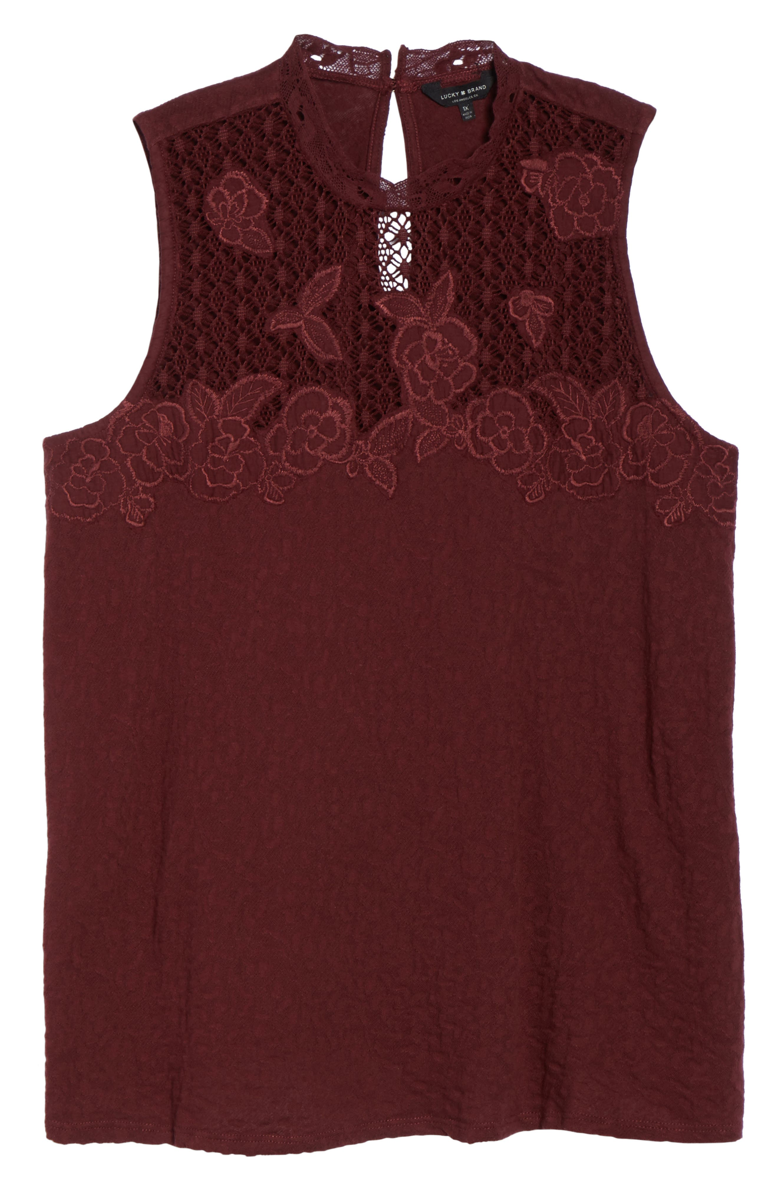Alternate Image 5  - Lucky Brand Lace Knit Top (Plus Size)