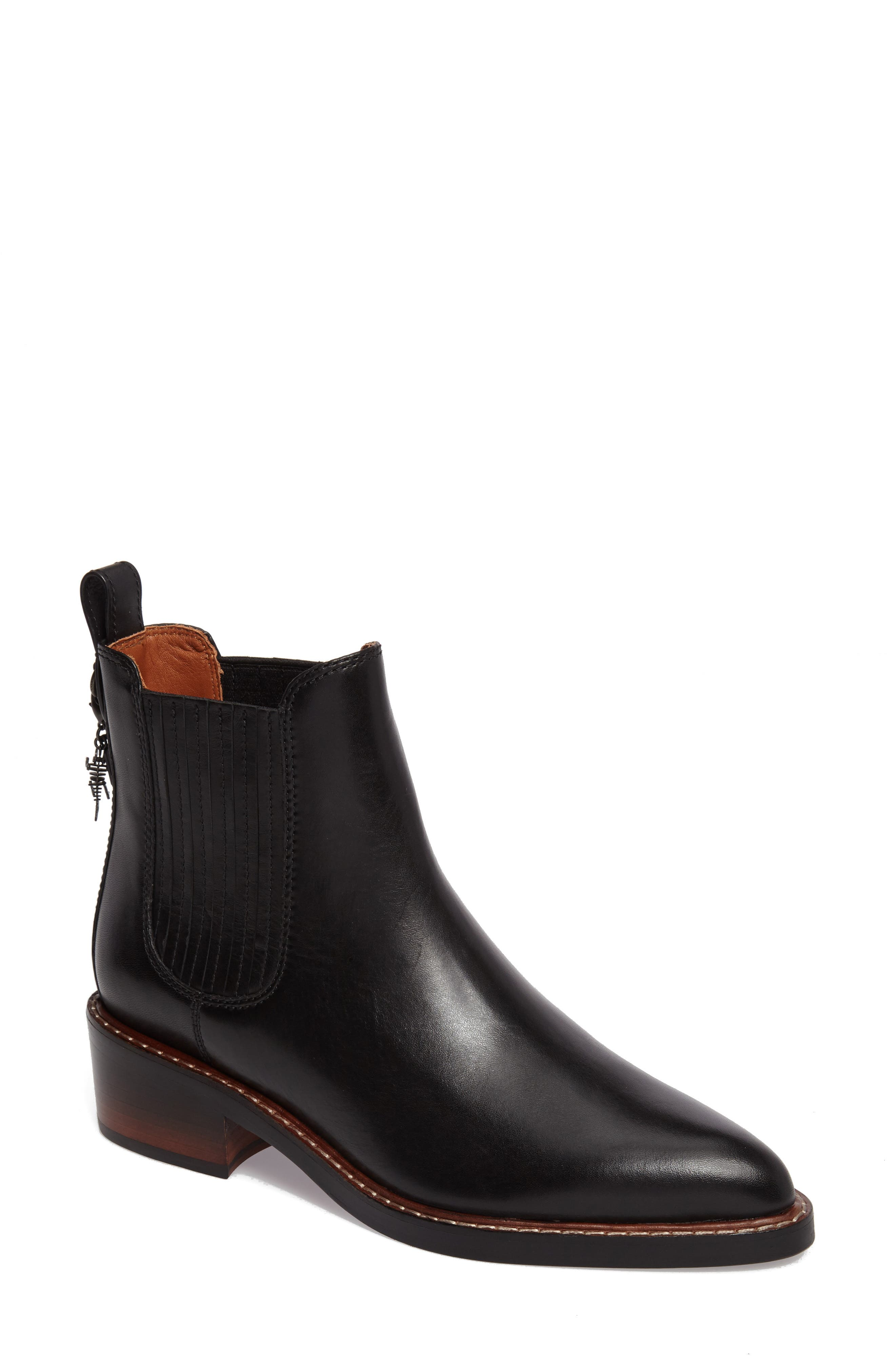 Bowery Embroidered Chelsea Bootie,                         Main,                         color, Black Leather